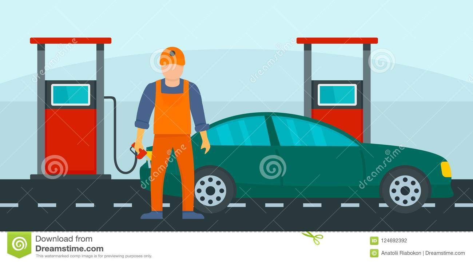 Sirva el terraplén el coche con el fondo de la gasolina, estilo plano