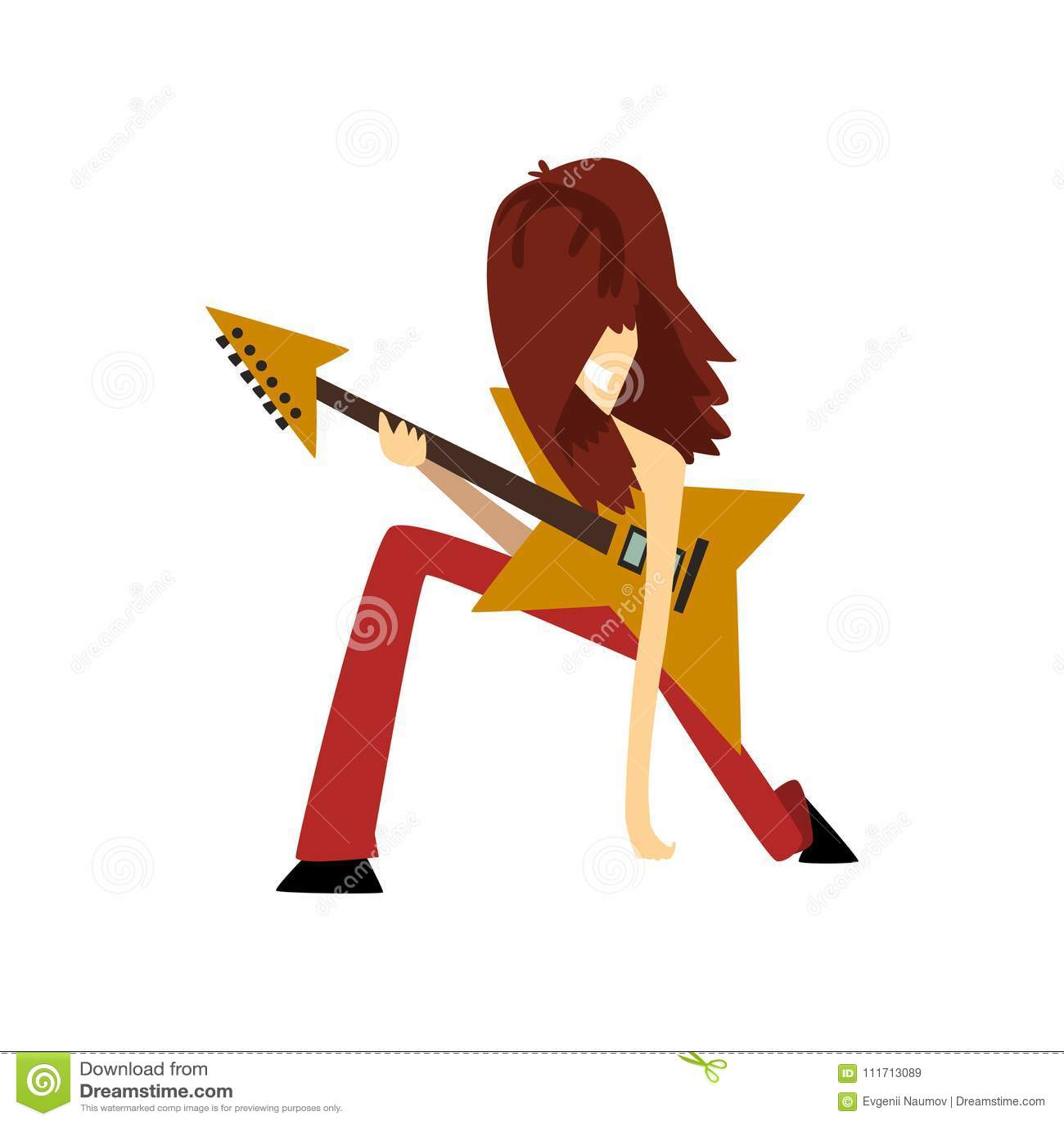 Sirva La Situación En Una Rodilla Con La Guitarra Eléctrica
