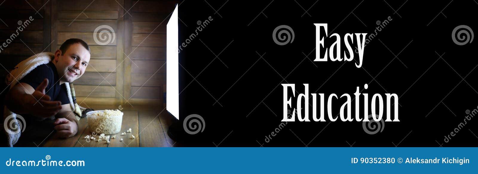 Sirva la televisión de observación en casa en el edu fácil del piso y del texto