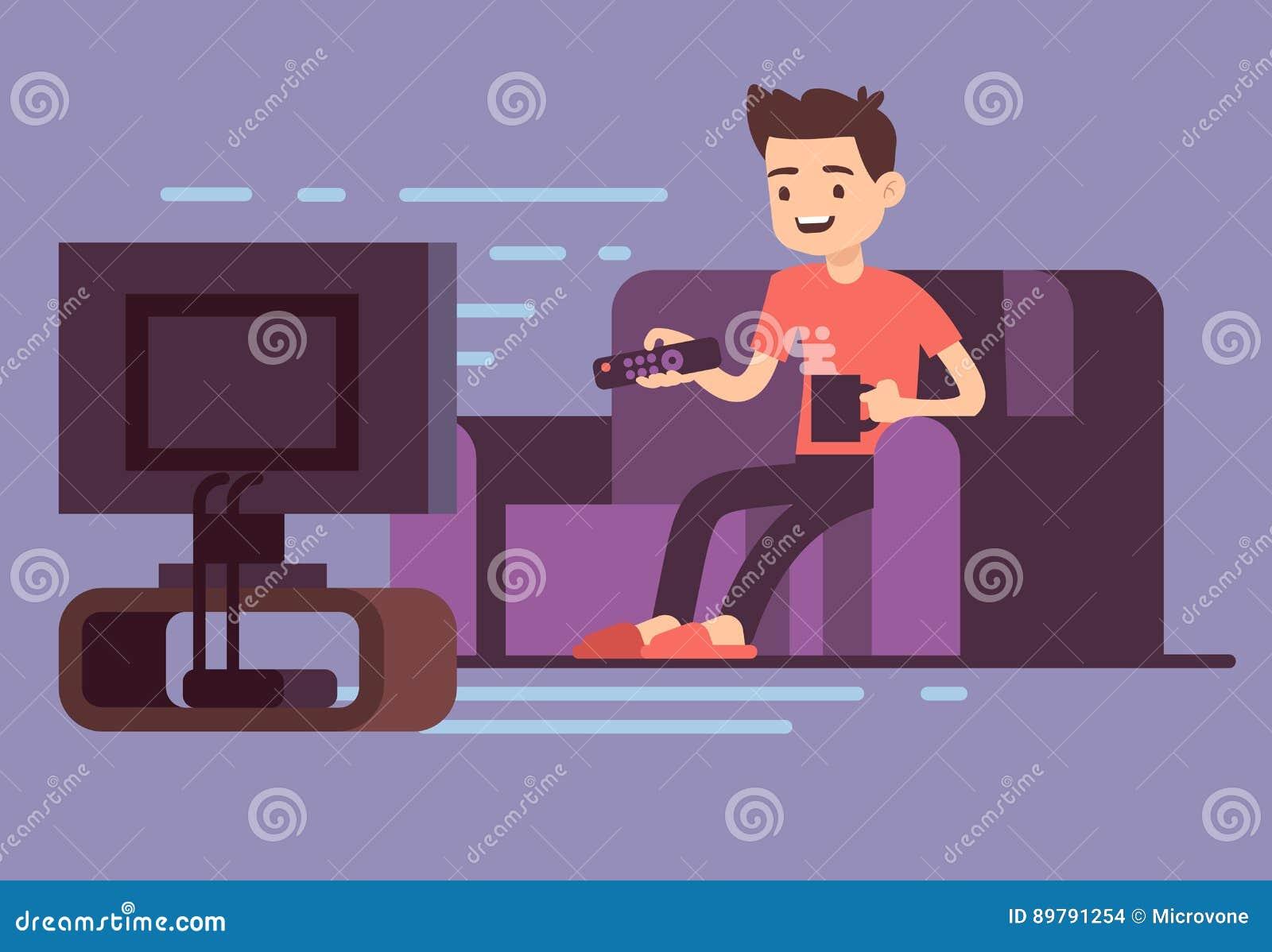 Sirva la TV de observación y el café de consumición en el sofá en el ejemplo interior del vector del sitio casero