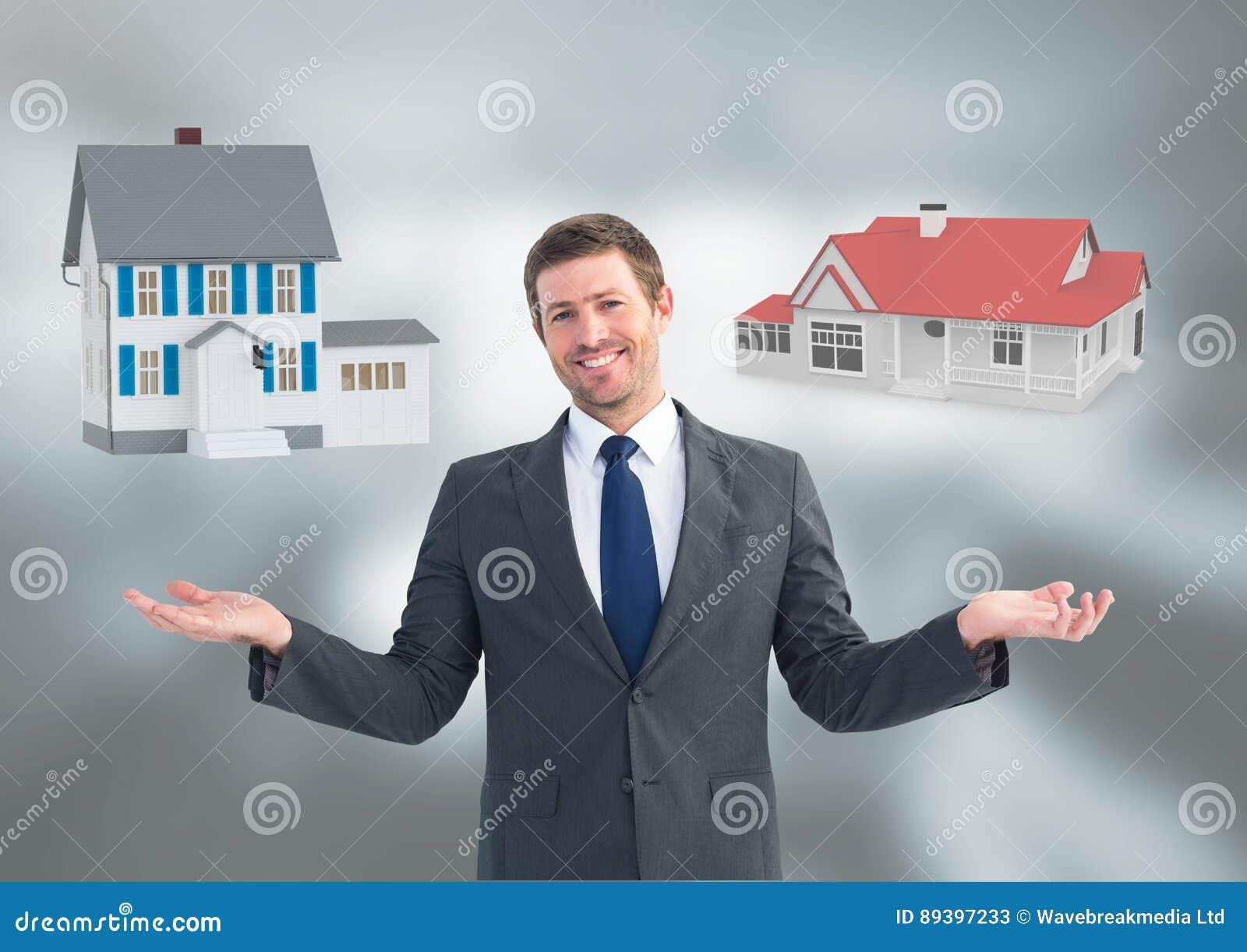 Sirva las casas que eligen o de decisiones con las manos abiertas de la palma