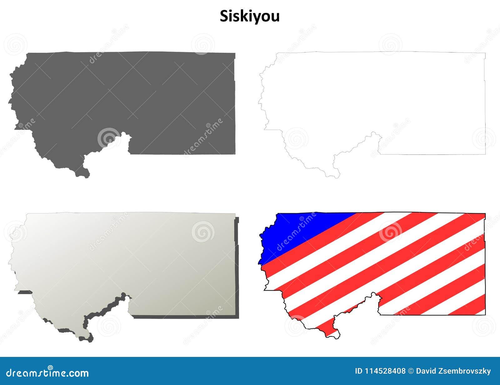Siskiyou County California Outline Map Set Stock Vector