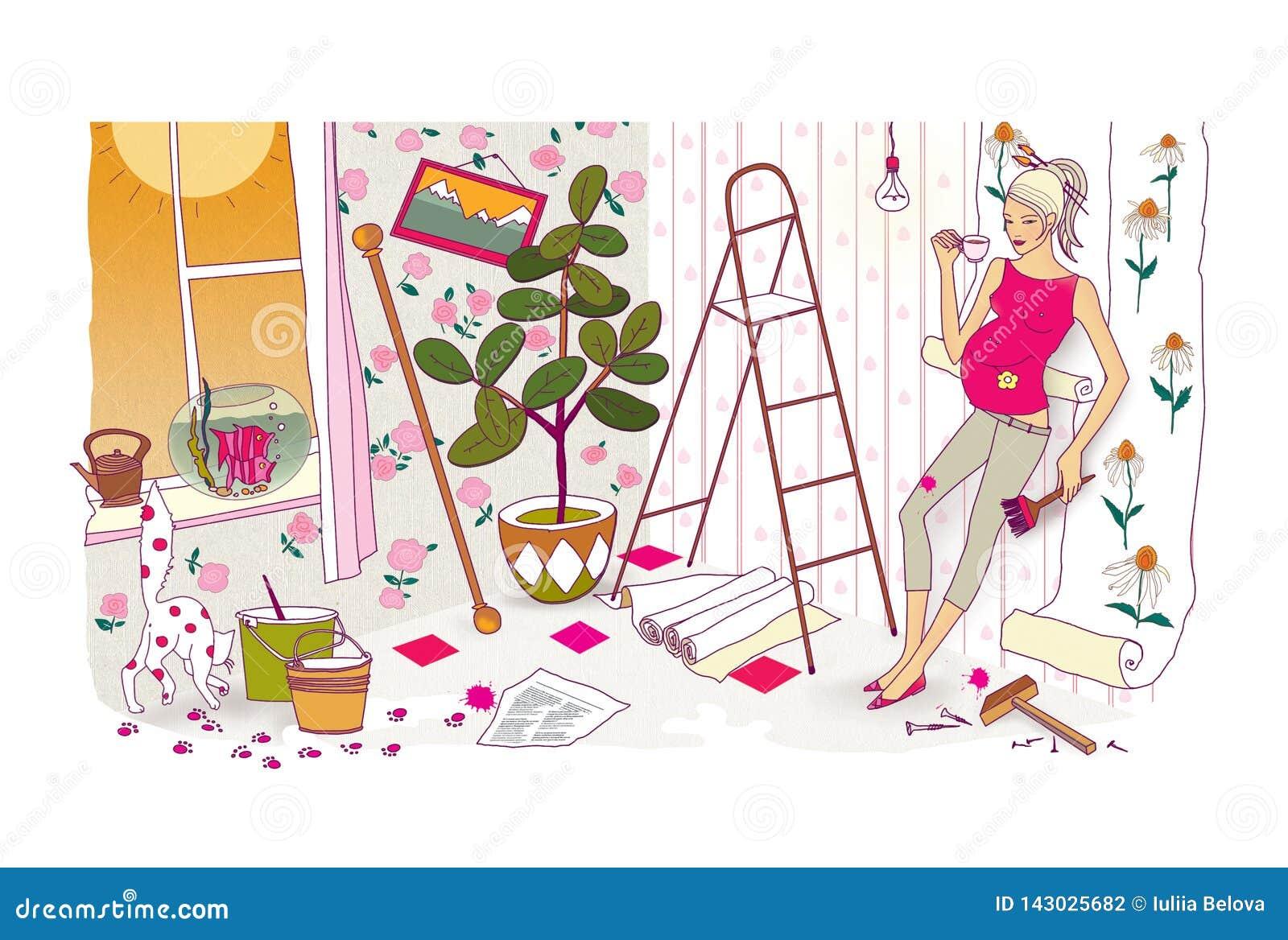 Sista förberedelser för födelsen av ett barn En gravid kvinna med en enorm buk gör reparationer och beträffande-limmar tapeten ka
