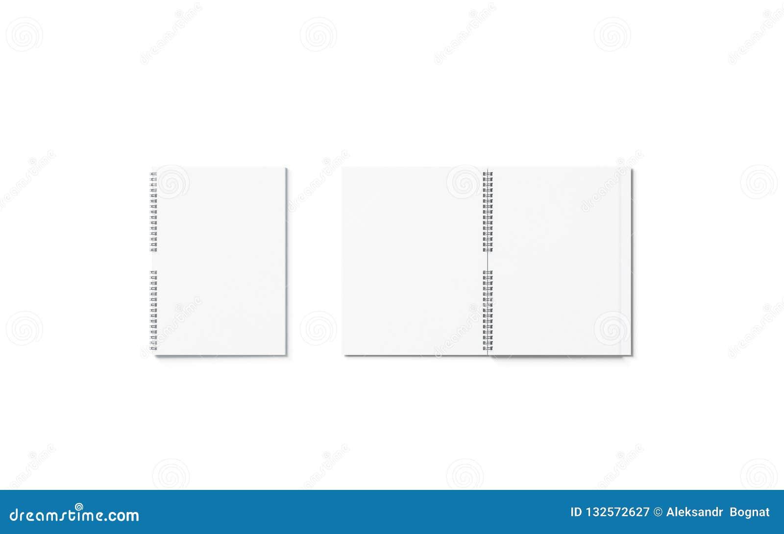 Sistema abierto del espacio en blanco y cerrado blanco de la maqueta del cuaderno, aislado