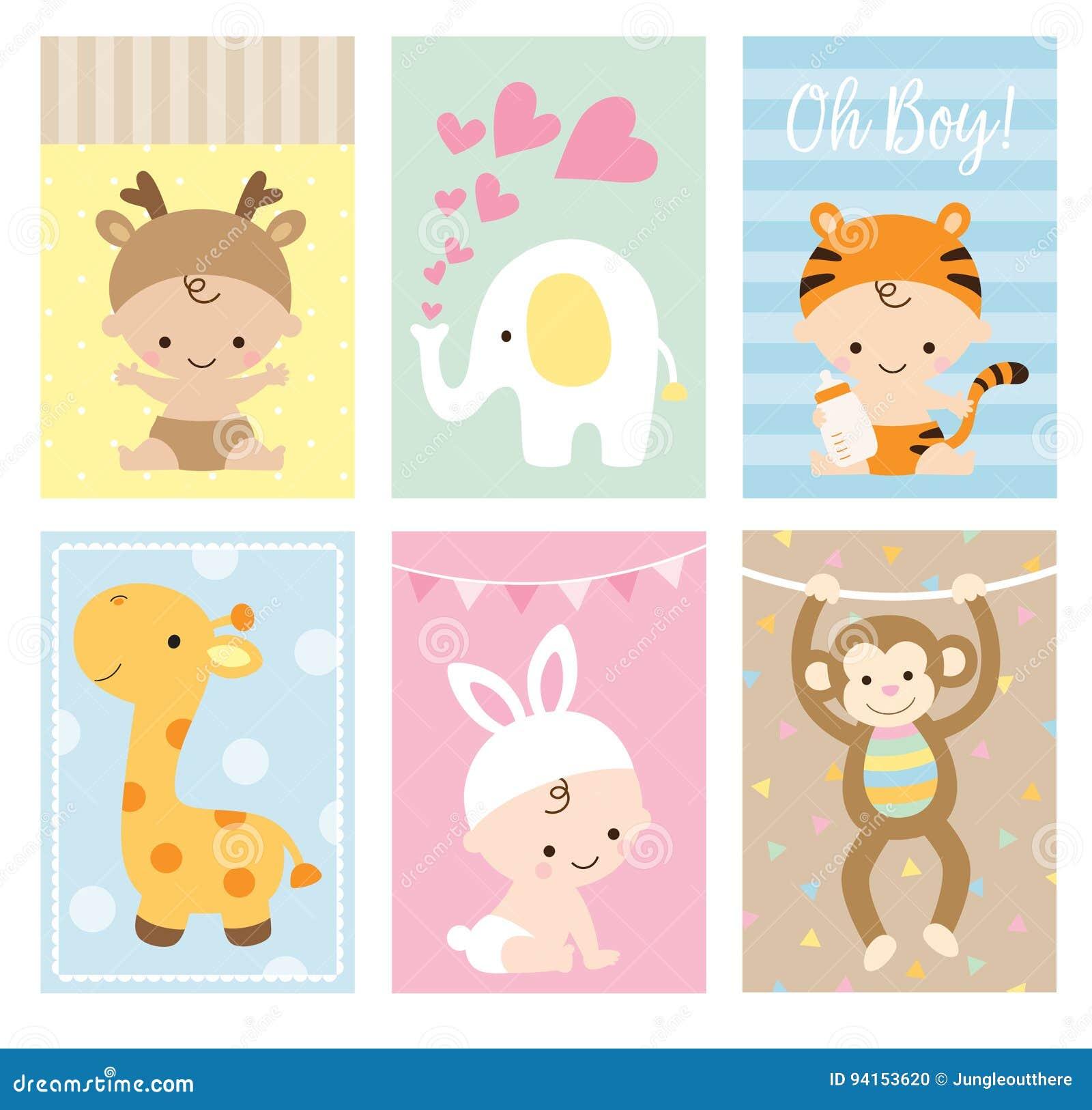 Sistema animal del tema de las tarjetas de la fiesta de bienvenida al bebé