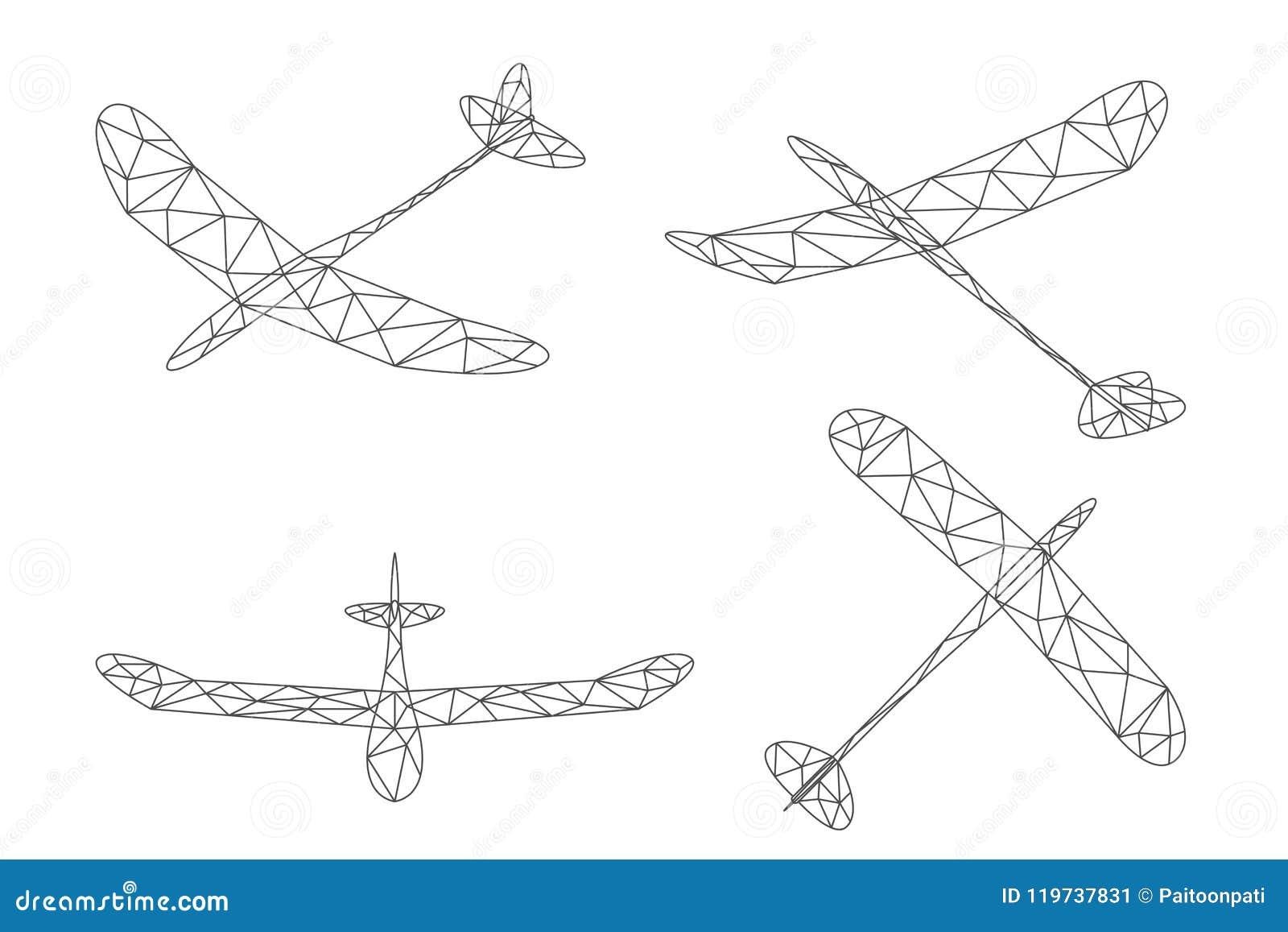 Sistema bajo del polígono del wireframe del avión y de la nube del planeador, ejemplo Editable del diseño del movimiento