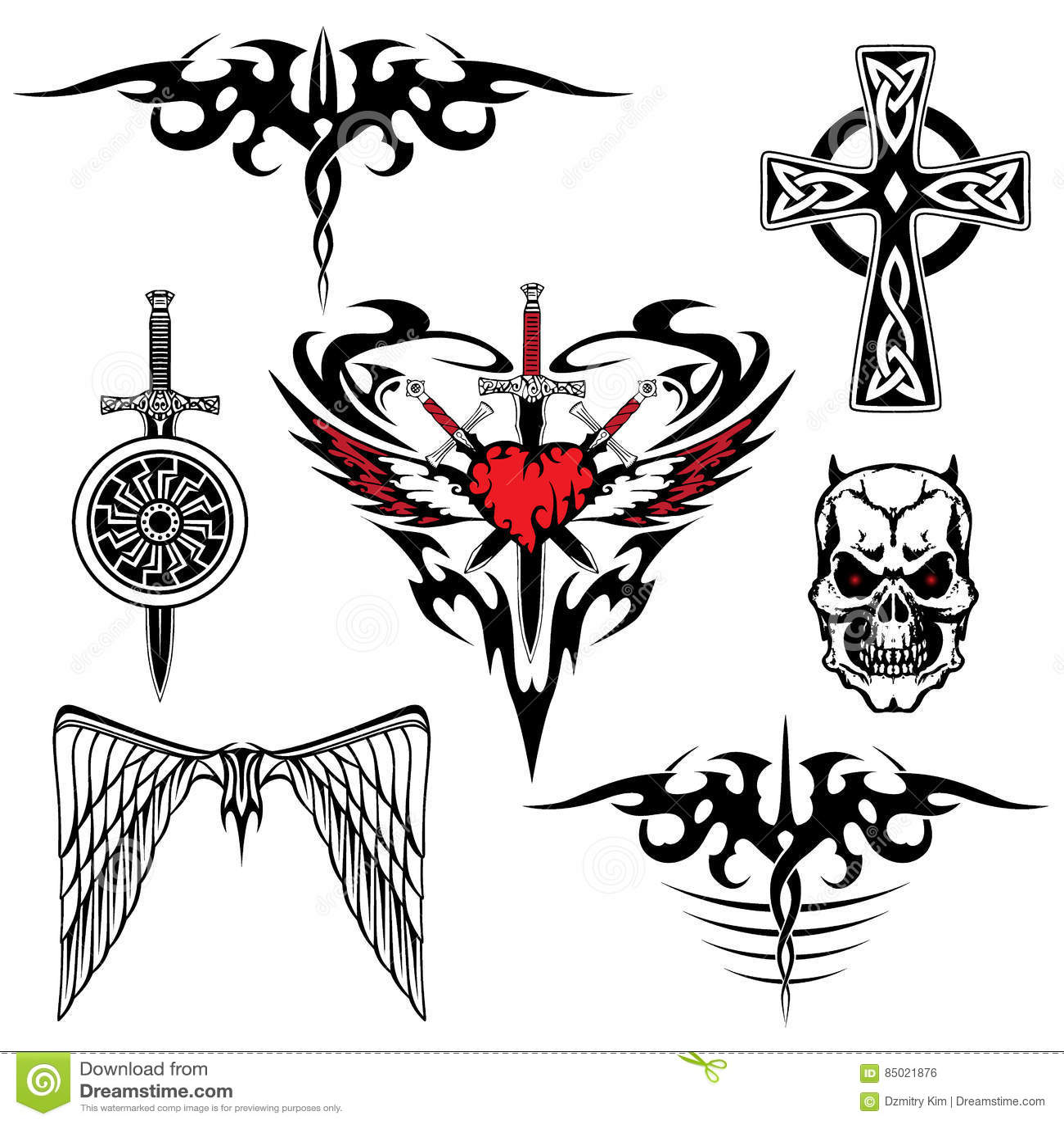 Sistema Blanco Rojo Negro Del Tatuaje Ilustración Del Vector