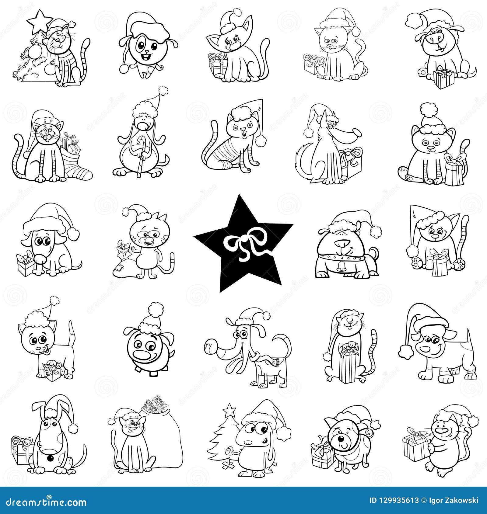 7c3f751c7183 Sistema Blanco Y Negro De Las Historietas De La Navidad Ilustración ...
