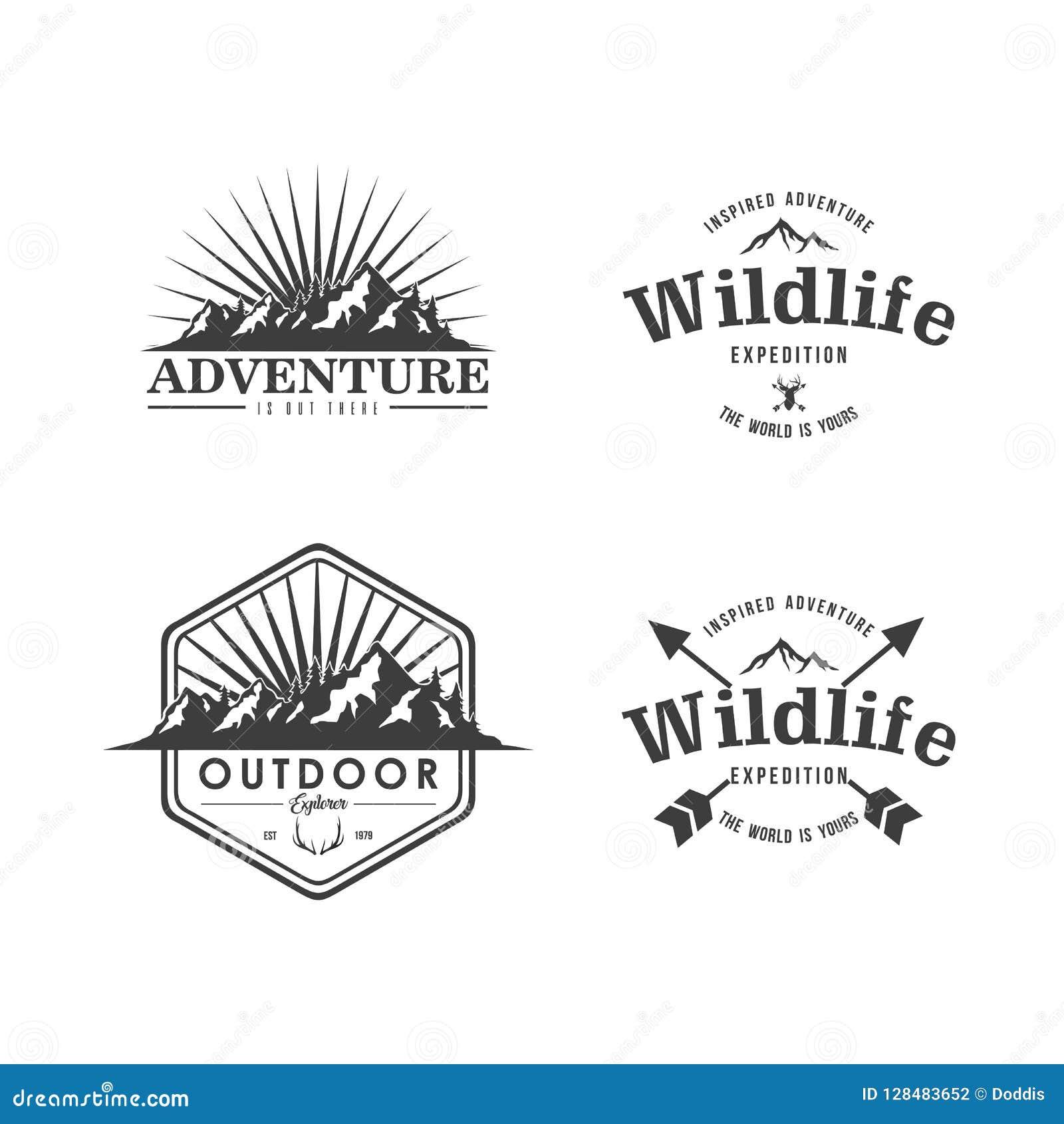 Sistema blanco y negro del diseño de Adventure Badge Vector del explorador de la montaña