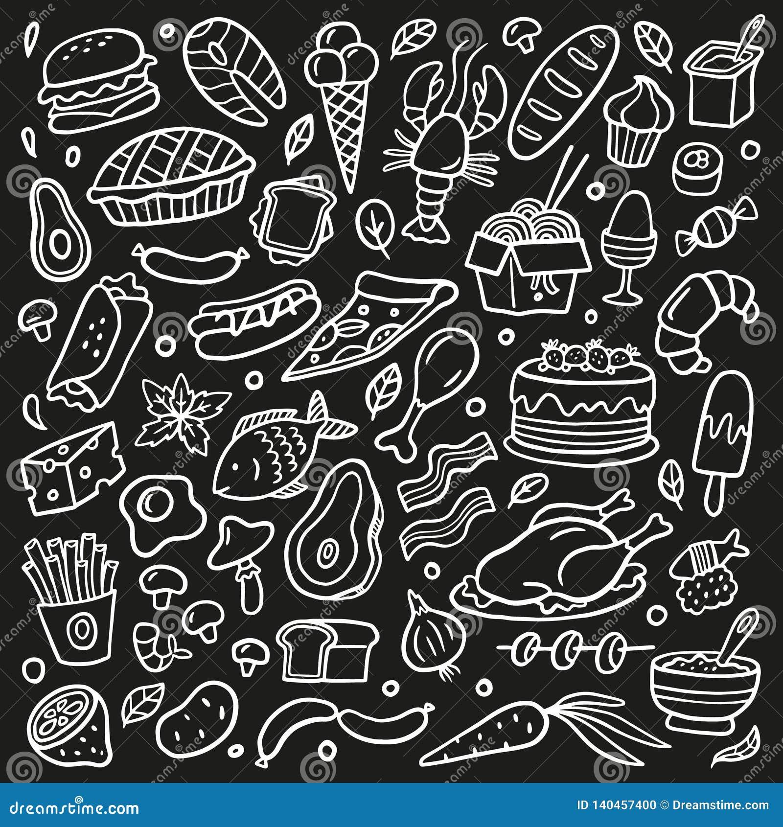 Sistema blanco y negro del garabato con la comida Mariscos, carne, hamburguesas, tallarines, verduras y dulces