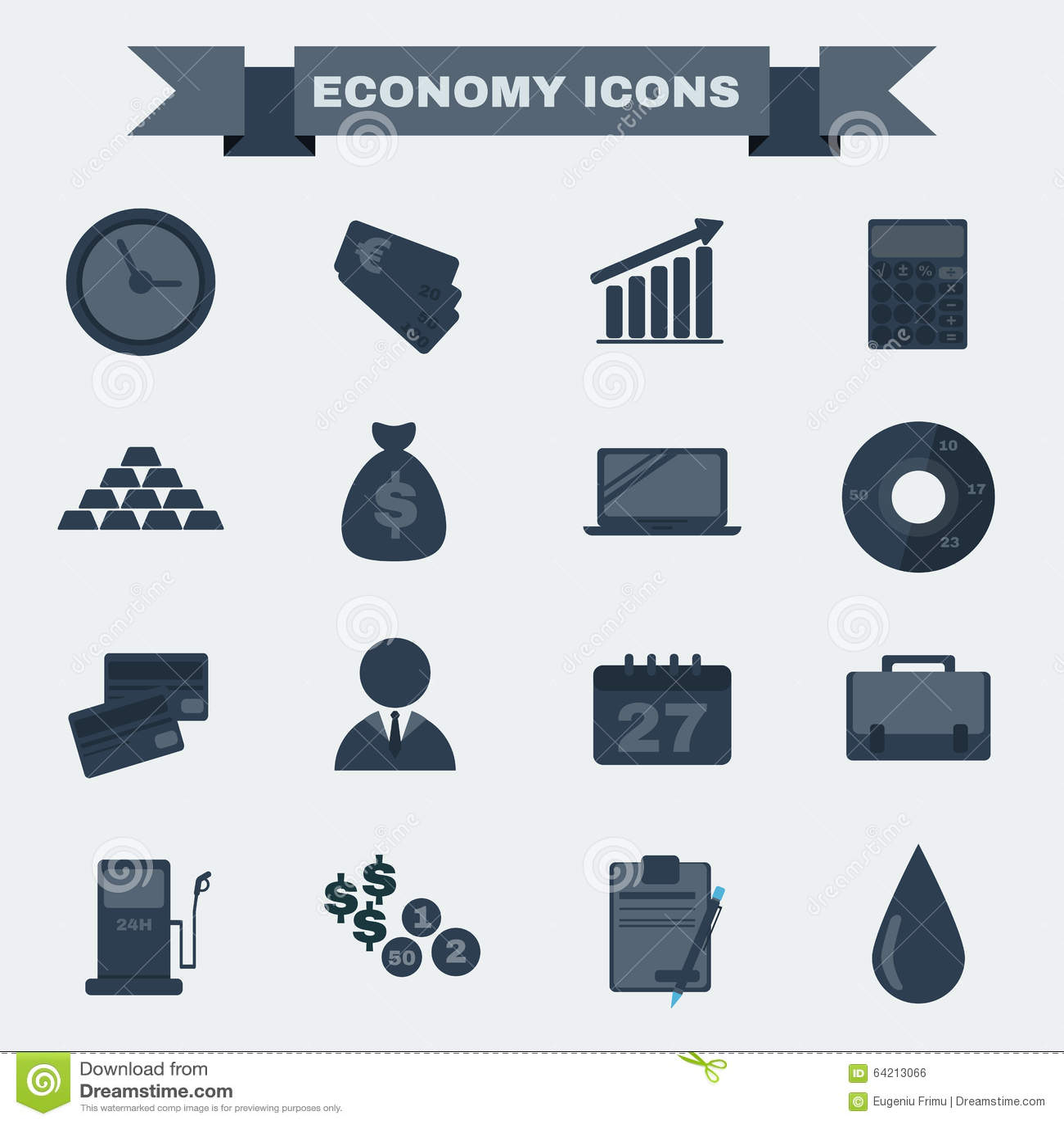 Sistema blanco y negro del icono de la economía