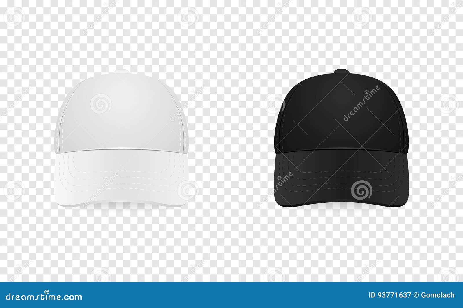Sistema blanco y negro del icono de la gorra de béisbol Front View Primer  de la plantilla del diseño en el vector EPS10 La maqueta para calificar y  hace ... b98f4474344
