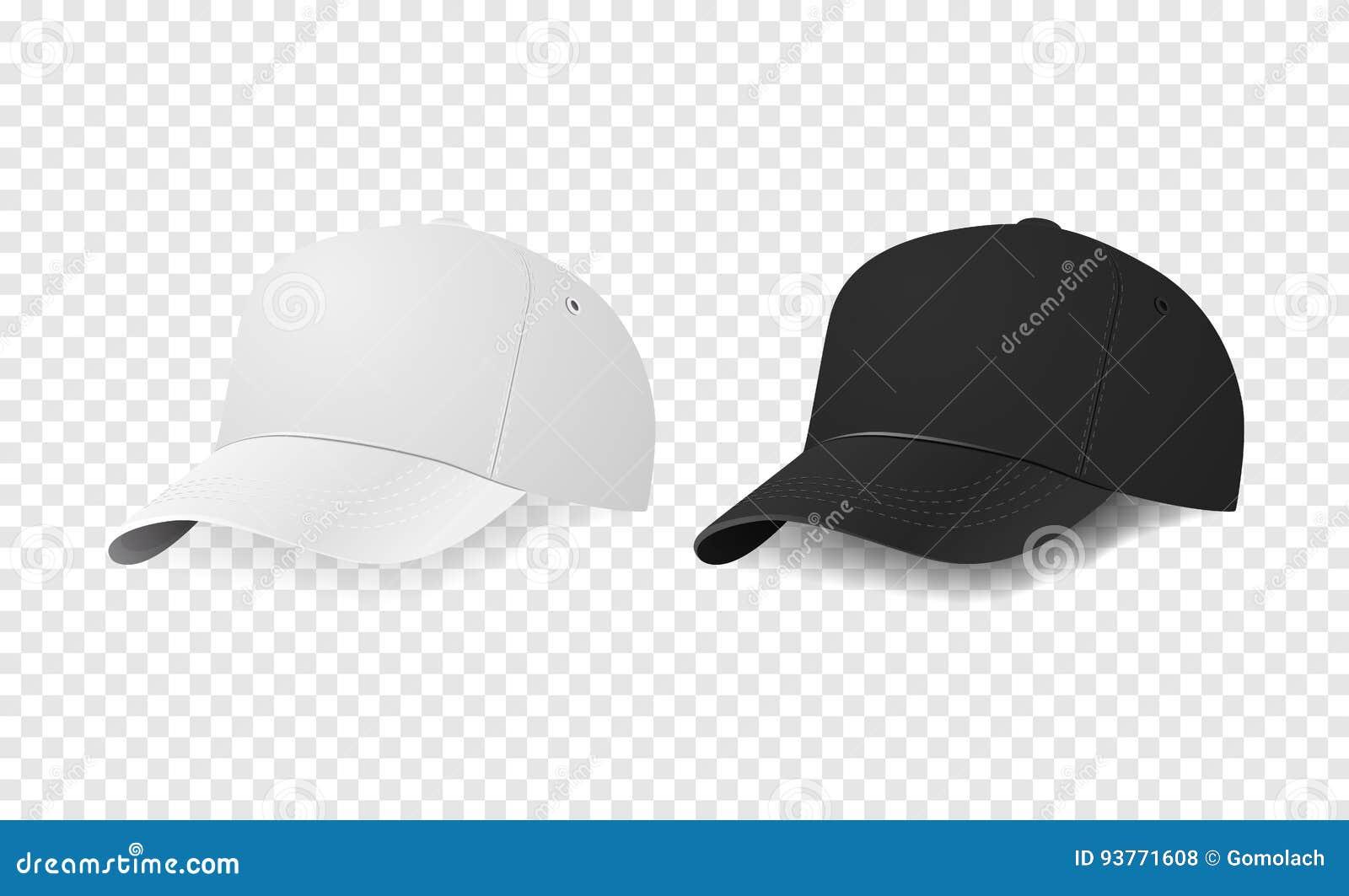 Sistema blanco y negro del icono de la gorra de béisbol Primer de la  plantilla del diseño en el vector EPS10 La maqueta para calificar y hace  publicidad en ... 3a43b0fe251