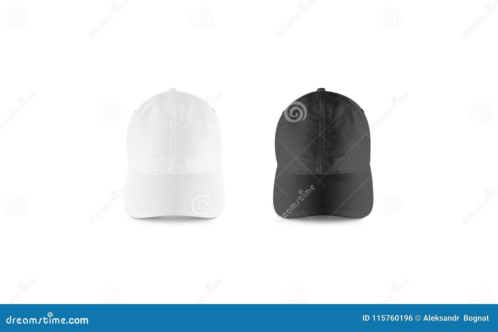 Sistema blanco y negro en blanco de la maqueta de la gorra de béisbol cb53b2440b2