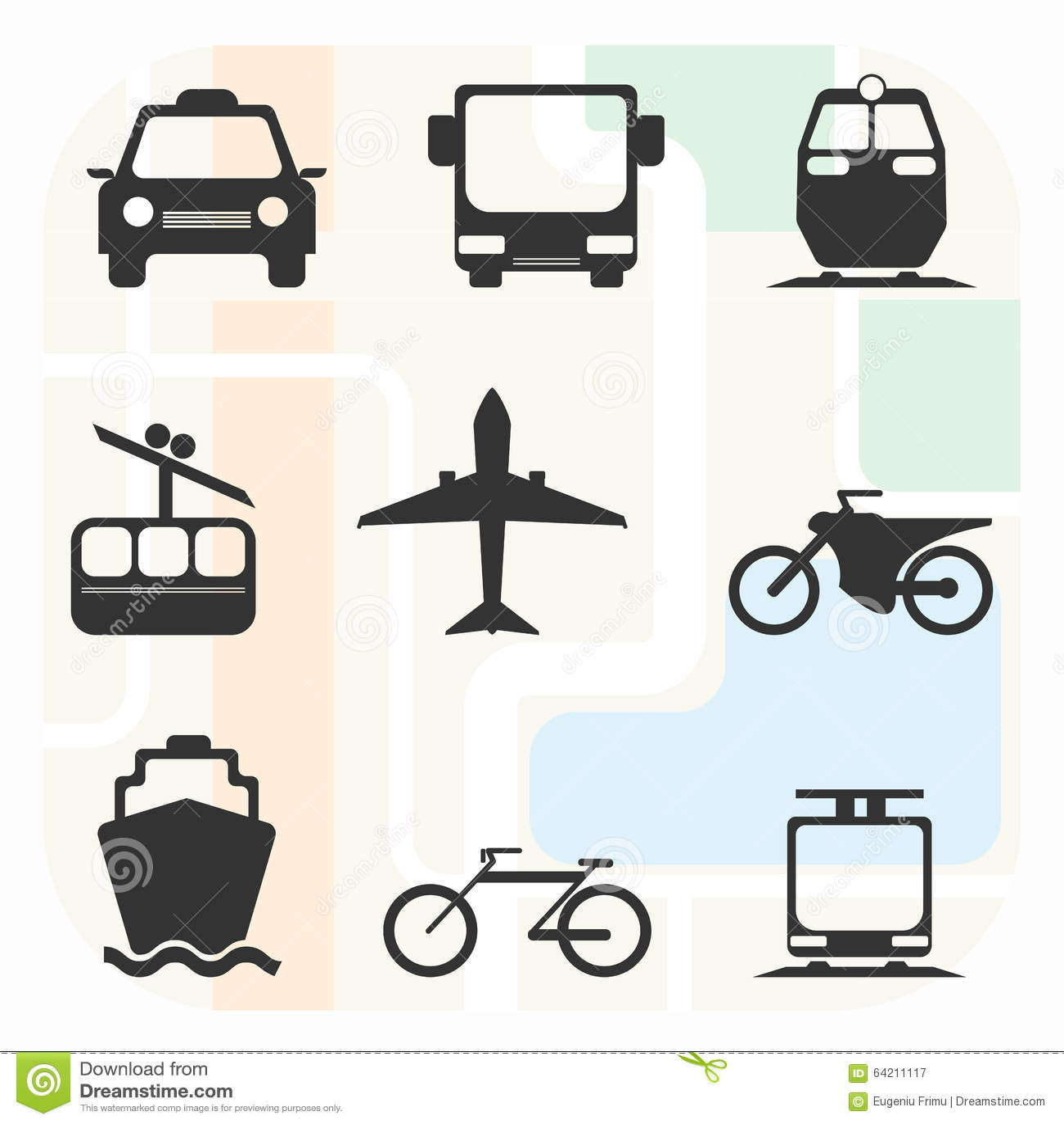 Sistema blanco y negro grande del icono del transporte