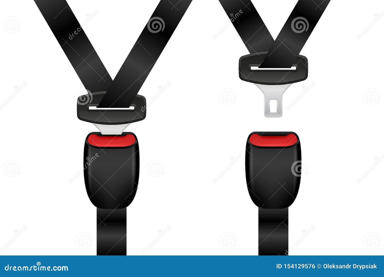 Sistema bloqueado y desbloqueado realista del cinturón de seguridad Cinturones de seguridad abiertos y cerrados del automóvil