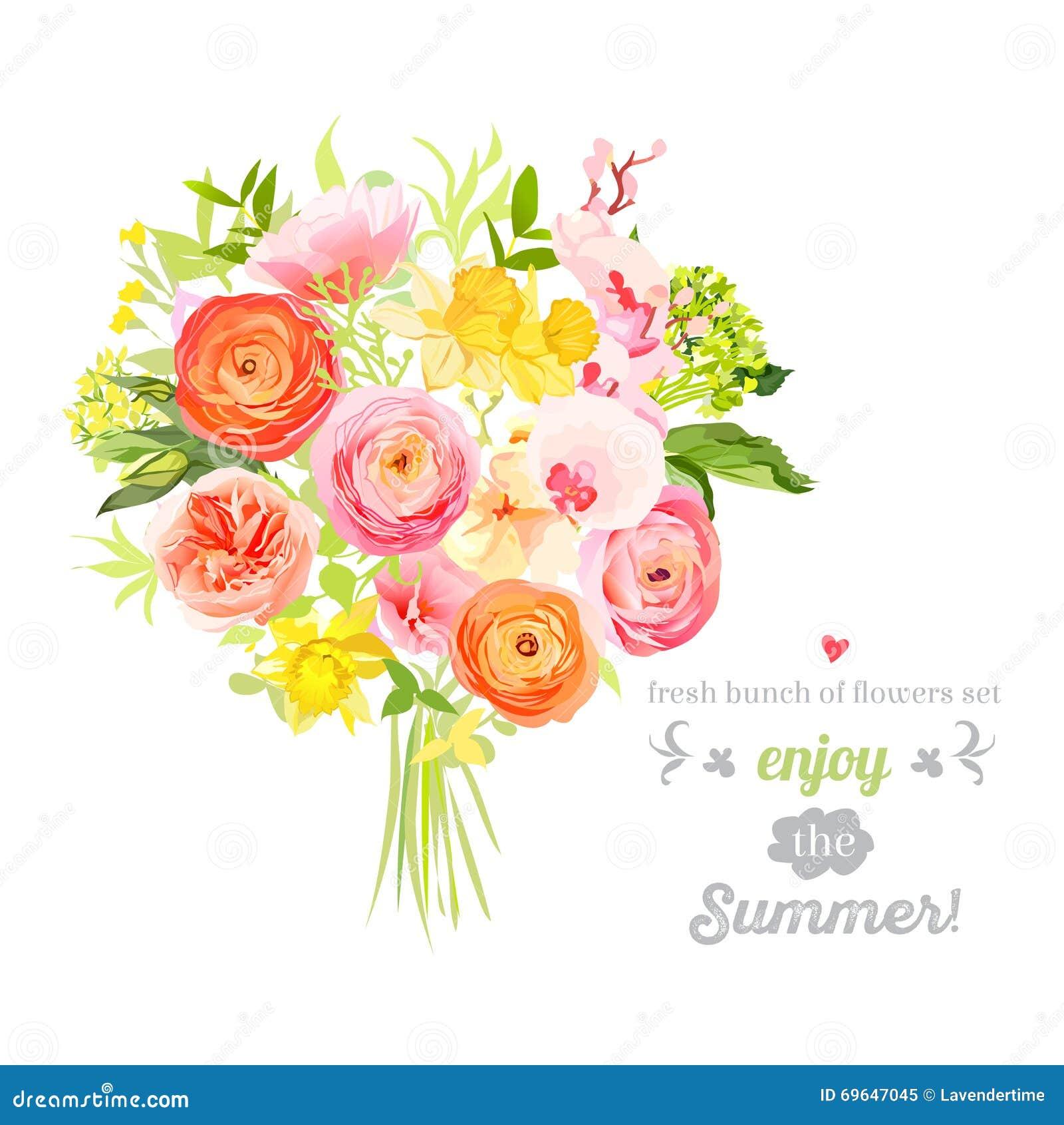 Sistema brillante enorme del diseño del vector de las flores del verano Objetos florales coloridos