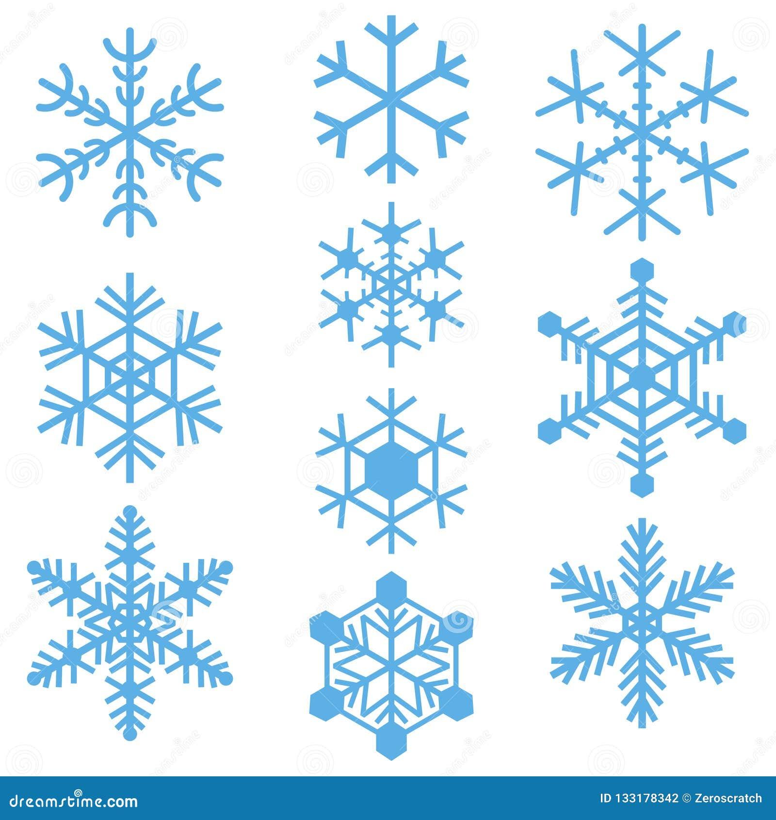 Sistema coloreado azul simple de los logotipos de las muestras de los iconos de los símbolos de los copos de nieve