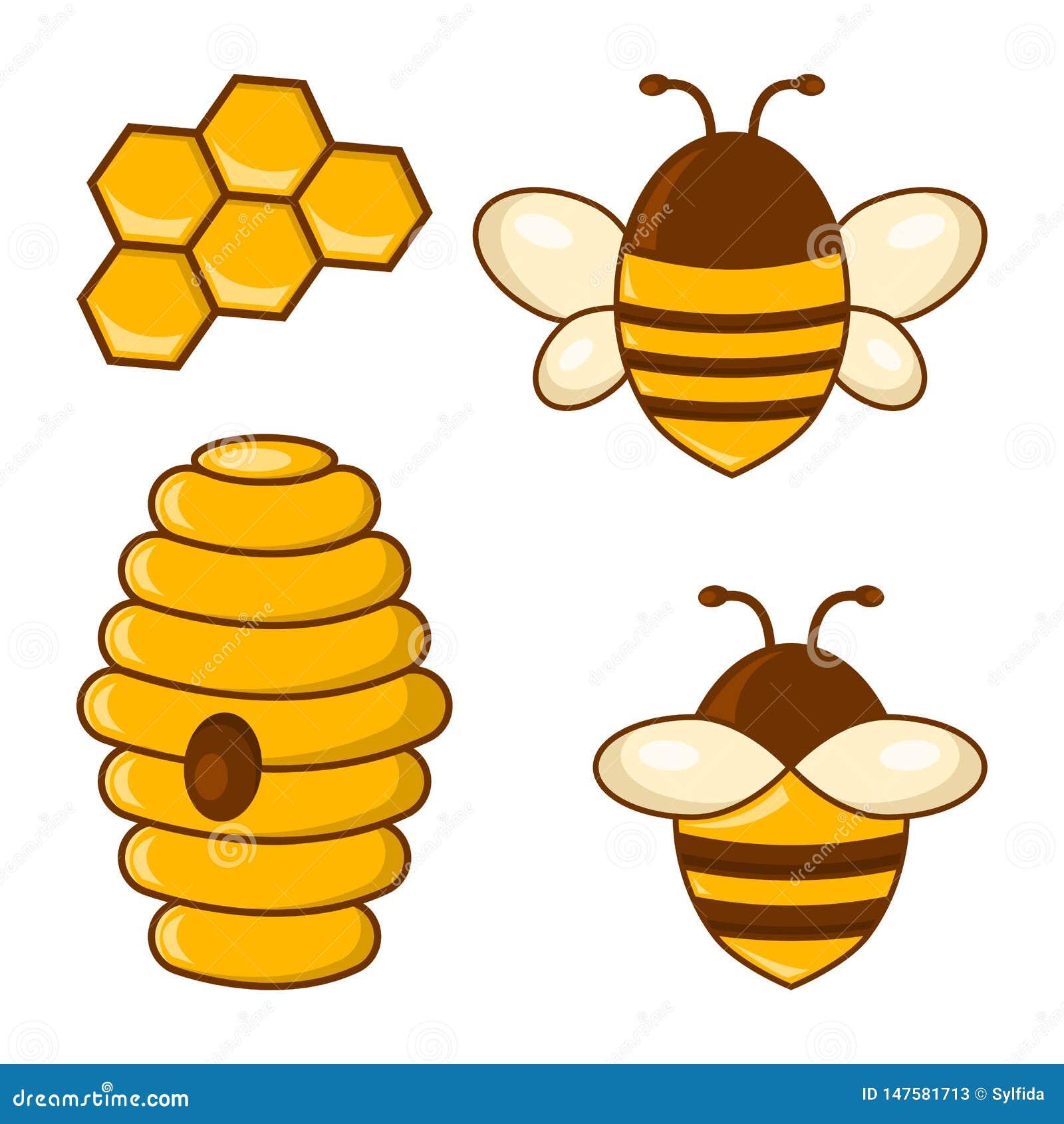 Sistema coloreado de la miel Abejas, panales, colmena Vector