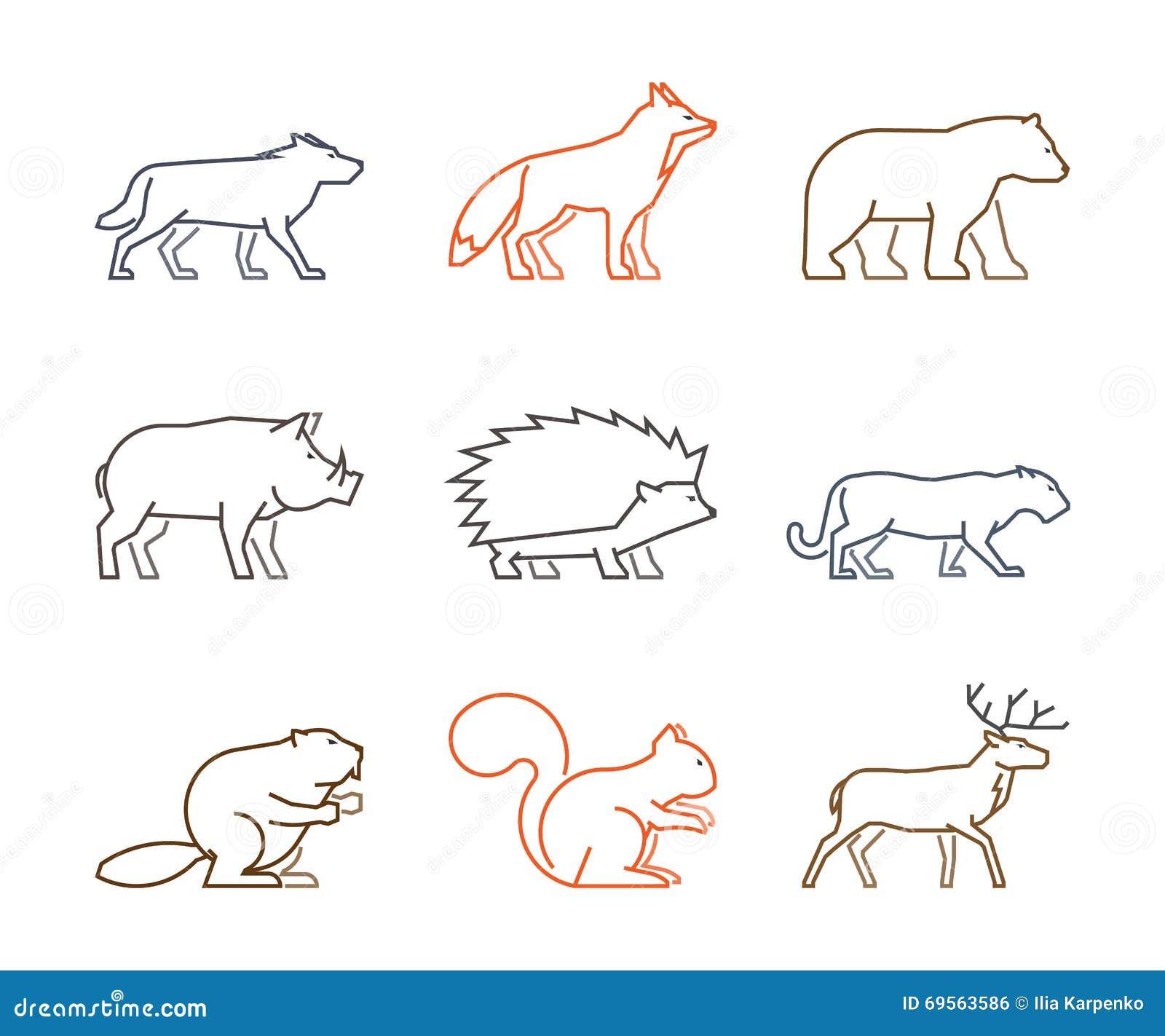 Sistema Coloreado Del Esquema De Animales Del Bosque Stock de ...