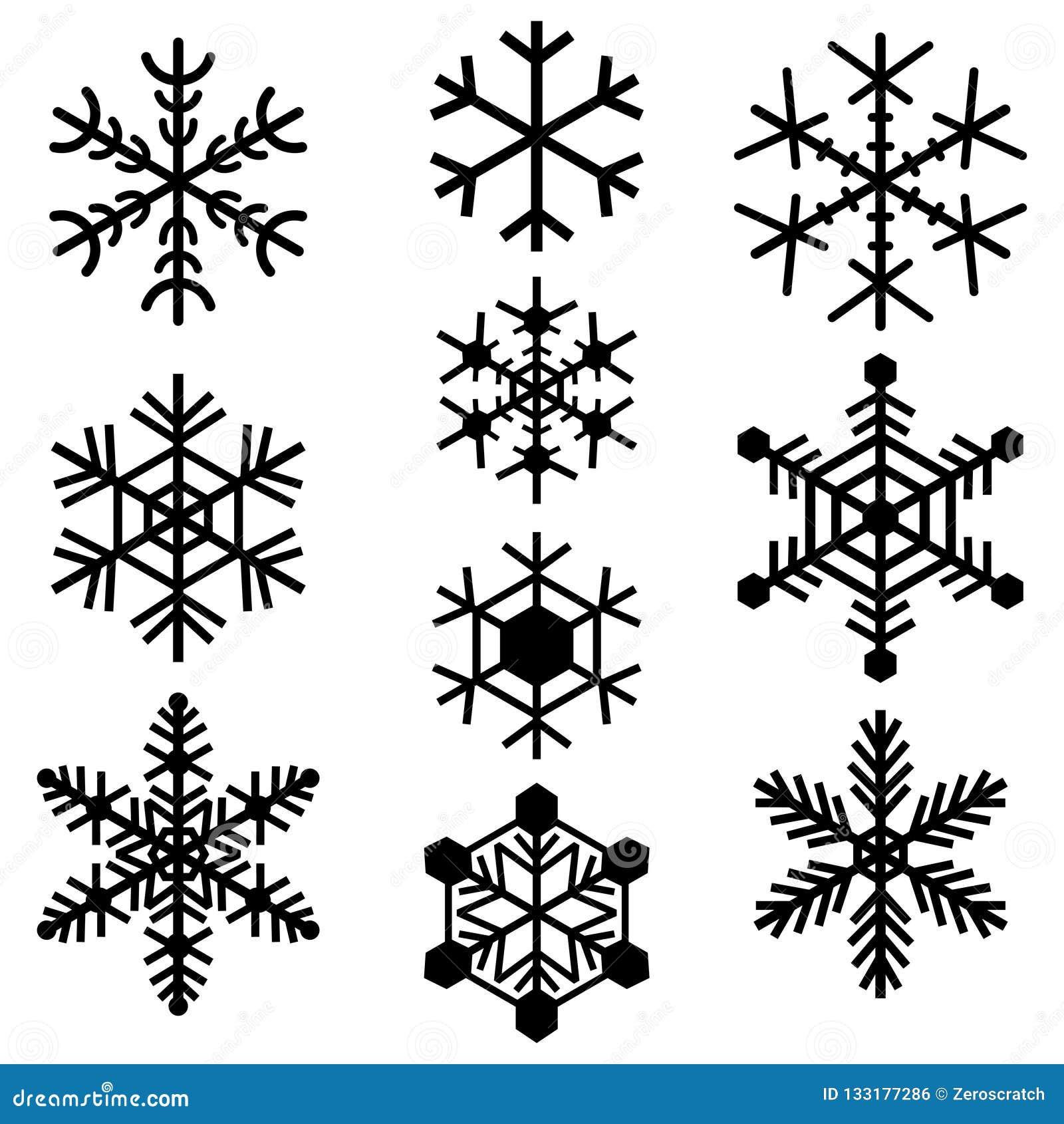 Sistema coloreado negro simple de los logotipos de las muestras de los iconos de los símbolos de los copos de nieve