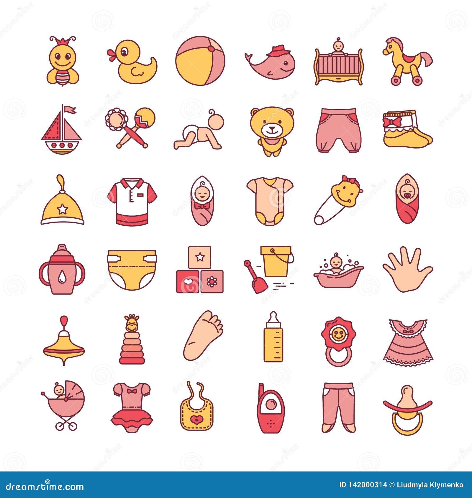 Sistema colorido del icono de los juguetes y de la ropa del bebé aislado en un fondo blanco