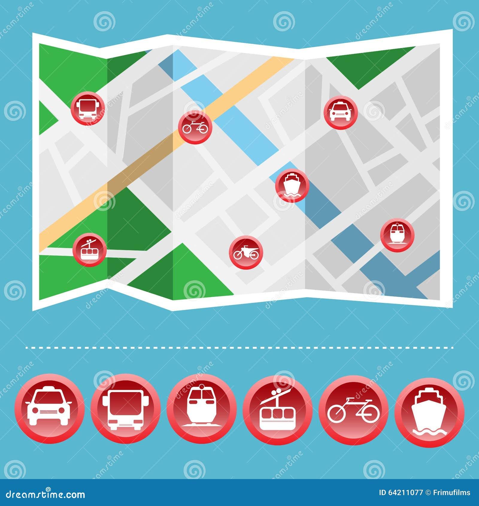 Sistema colorido del icono del transporte en el mapa