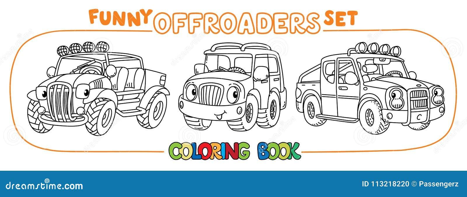 Sistema con errores divertido del coche o del libro de colorear del outroader