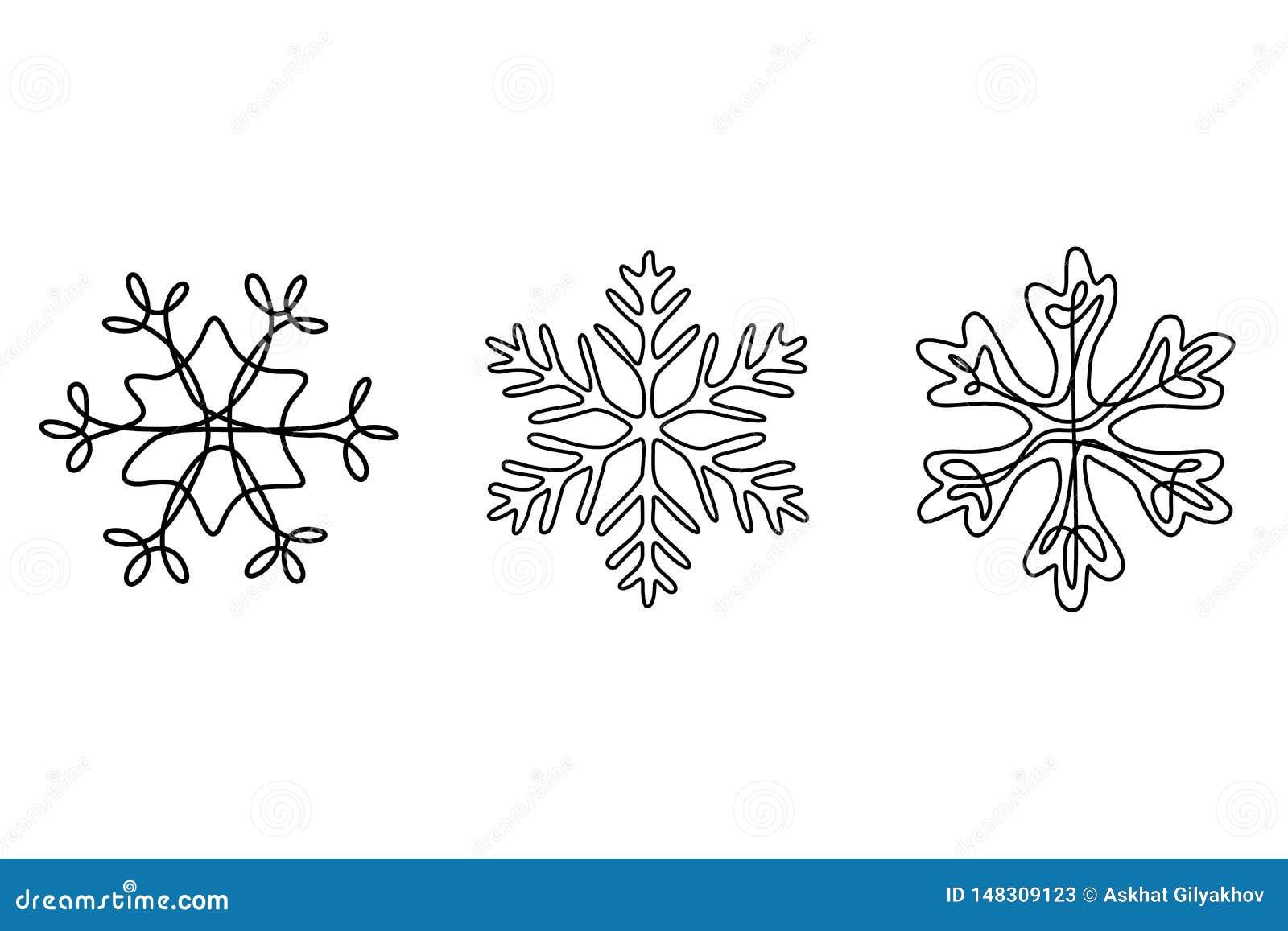 Sistema continuo de copos de nieve, tema del dibujo lineal del invierno