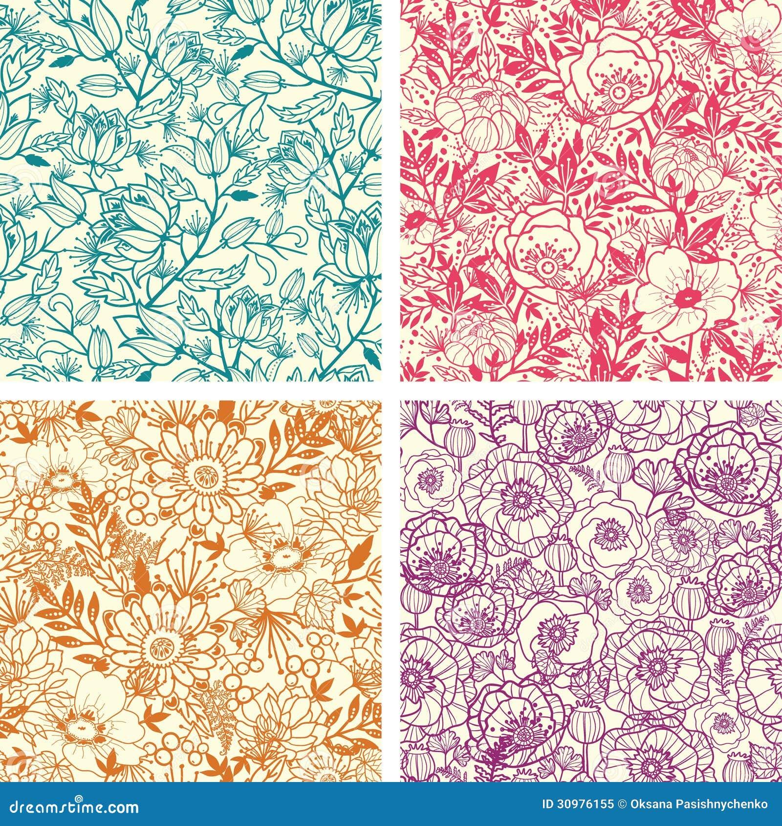Sistema cuatro de la línea floral modelo inconsútil del arte