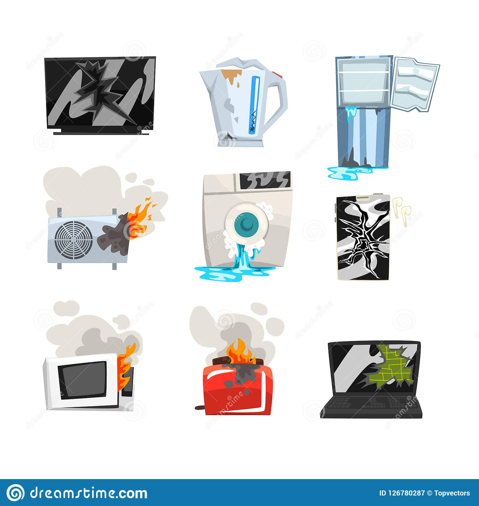 Sistema dañado del aparato electrodoméstico, TV rota, caldera, refrigerador, acondicionador de aire, lavadora, horno de microonda