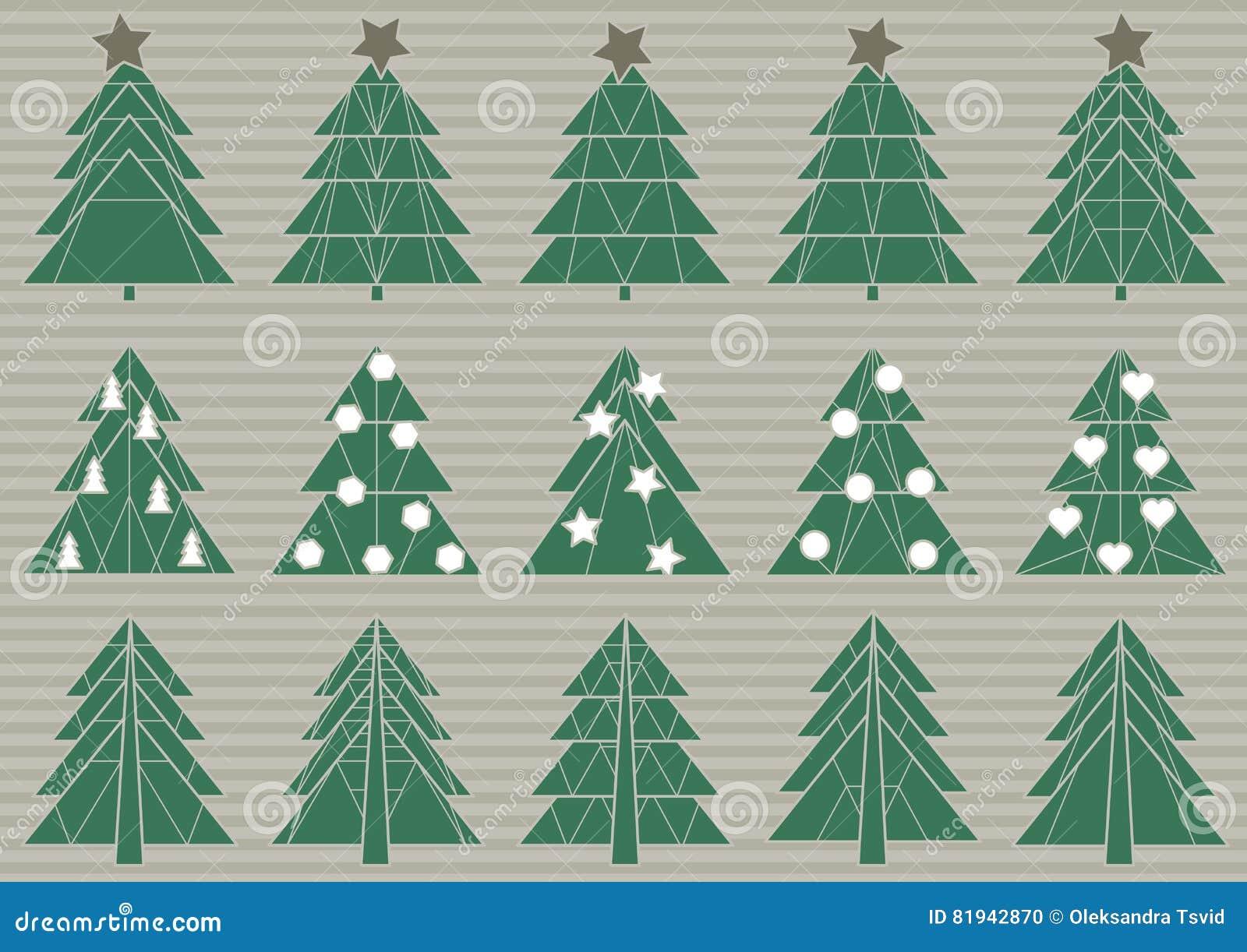 Sistema de árboles de navidad de la papiroflexia