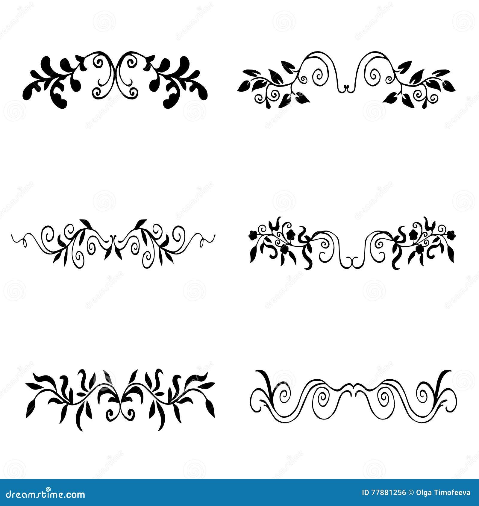 Sistema De Alta Calidad De La Original De Los Elementos Florales Para La Decoración U O Ilustración del Vector