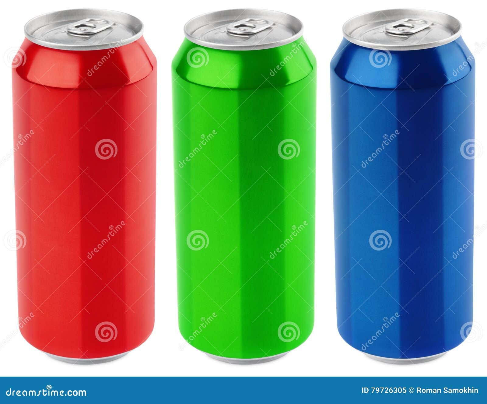 Sistema de aluminio del color lata de cerveza de 500 ml aislada en el fondo blanco