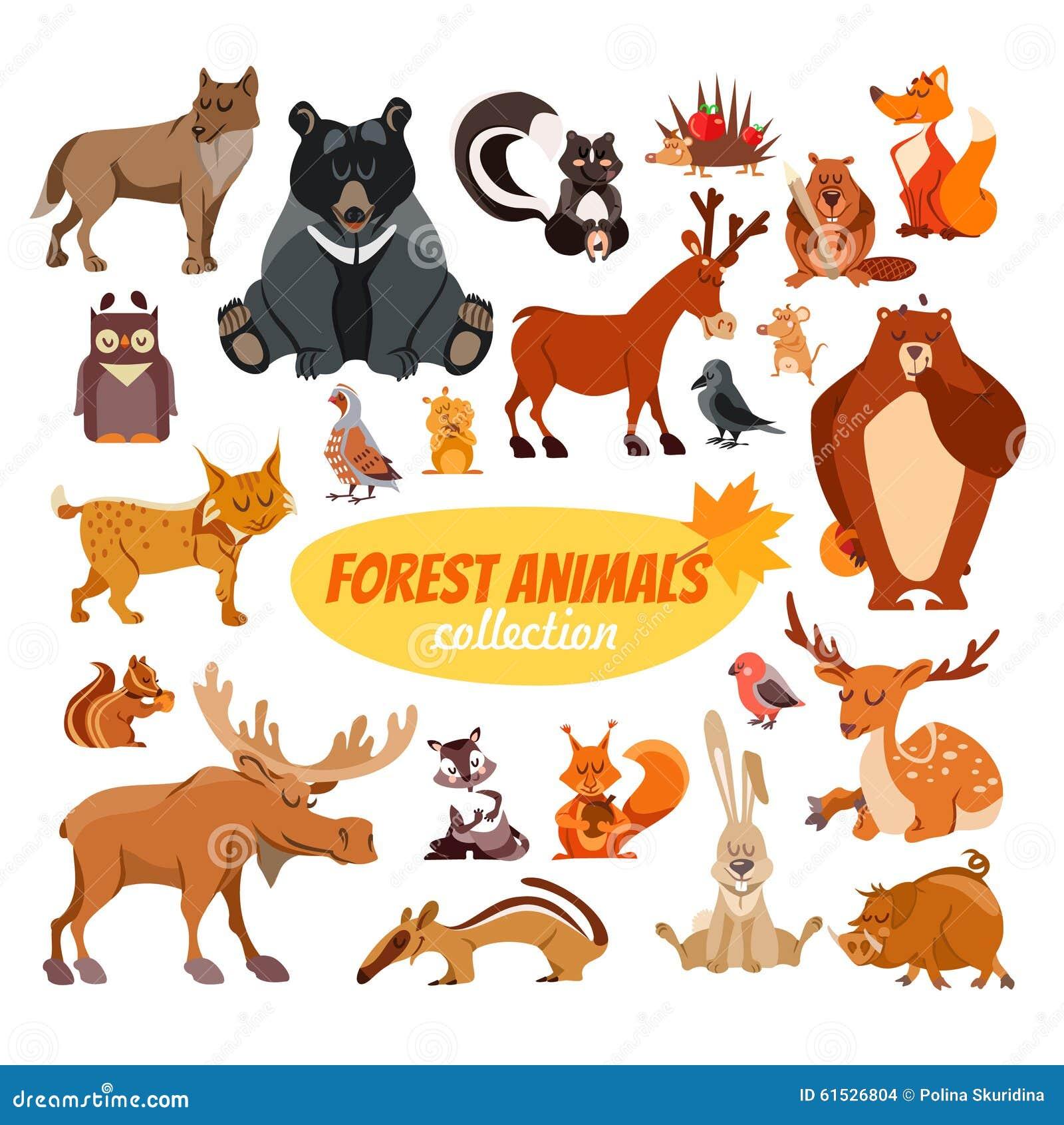 Sistema de animales del bosque de la historieta