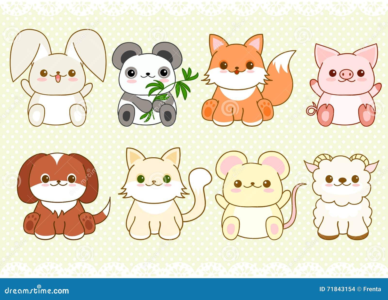 Sistema de animales lindos del bebé en estilo del kawaii Imagenes de archivo