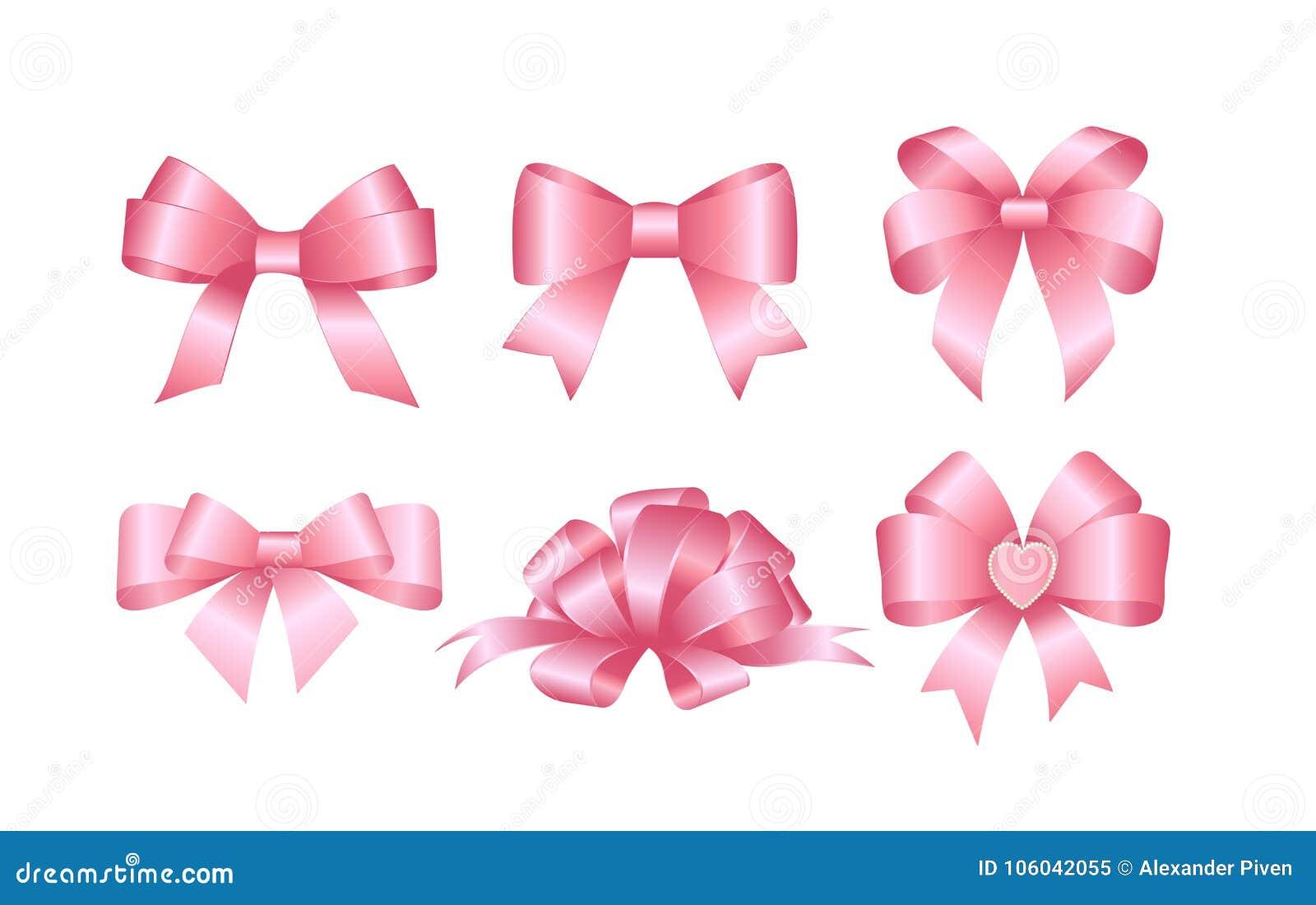 Sistema de arcos rosados del regalo Concepto para el vector de la disposición de la invitación, de las banderas, de los cartes ca