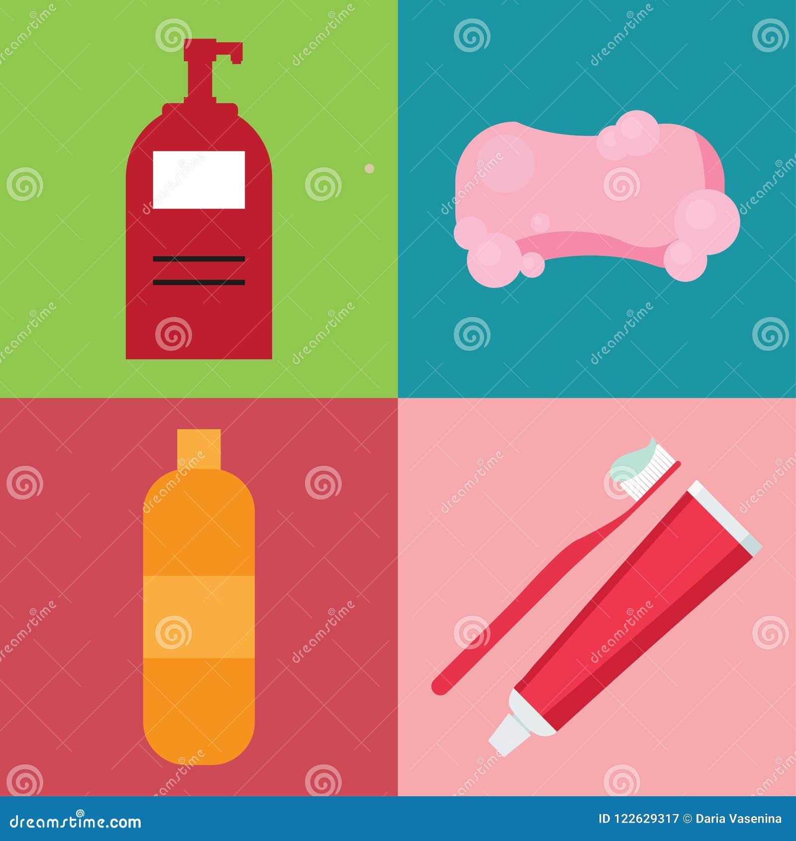 Sistema de artículos de la higiene en estilo plano