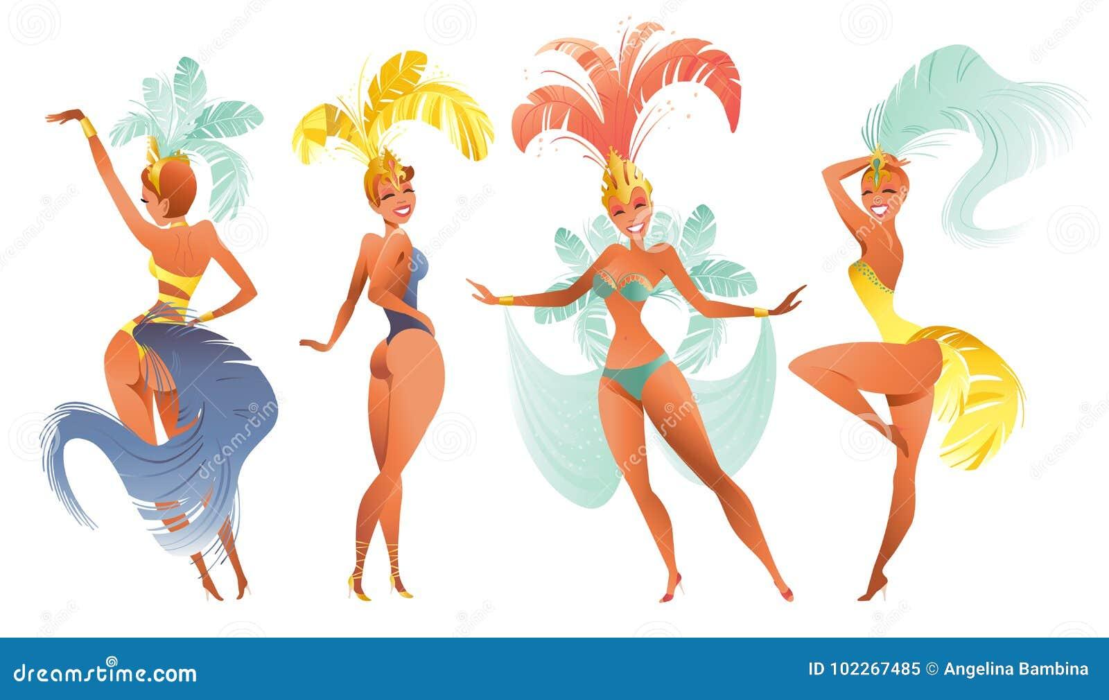 a73858b041fa Sistema De Bailarines Brasileños De La Samba Carnaval Del Vector En ...