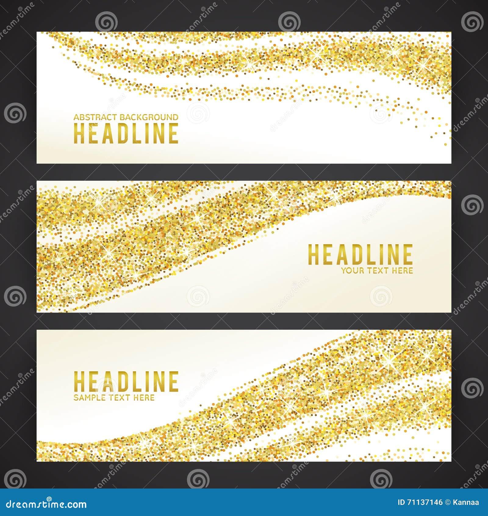 Sistema de banderas con tema de oro del confeti