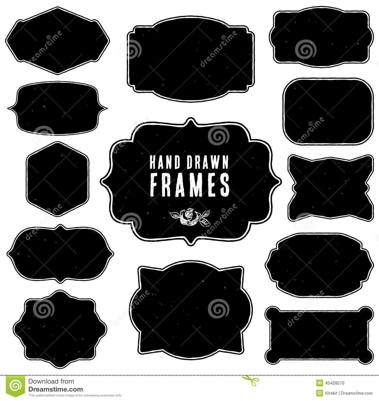 Sistema de bastidores y de etiquetas del espacio en blanco del vintage Vector drenado mano