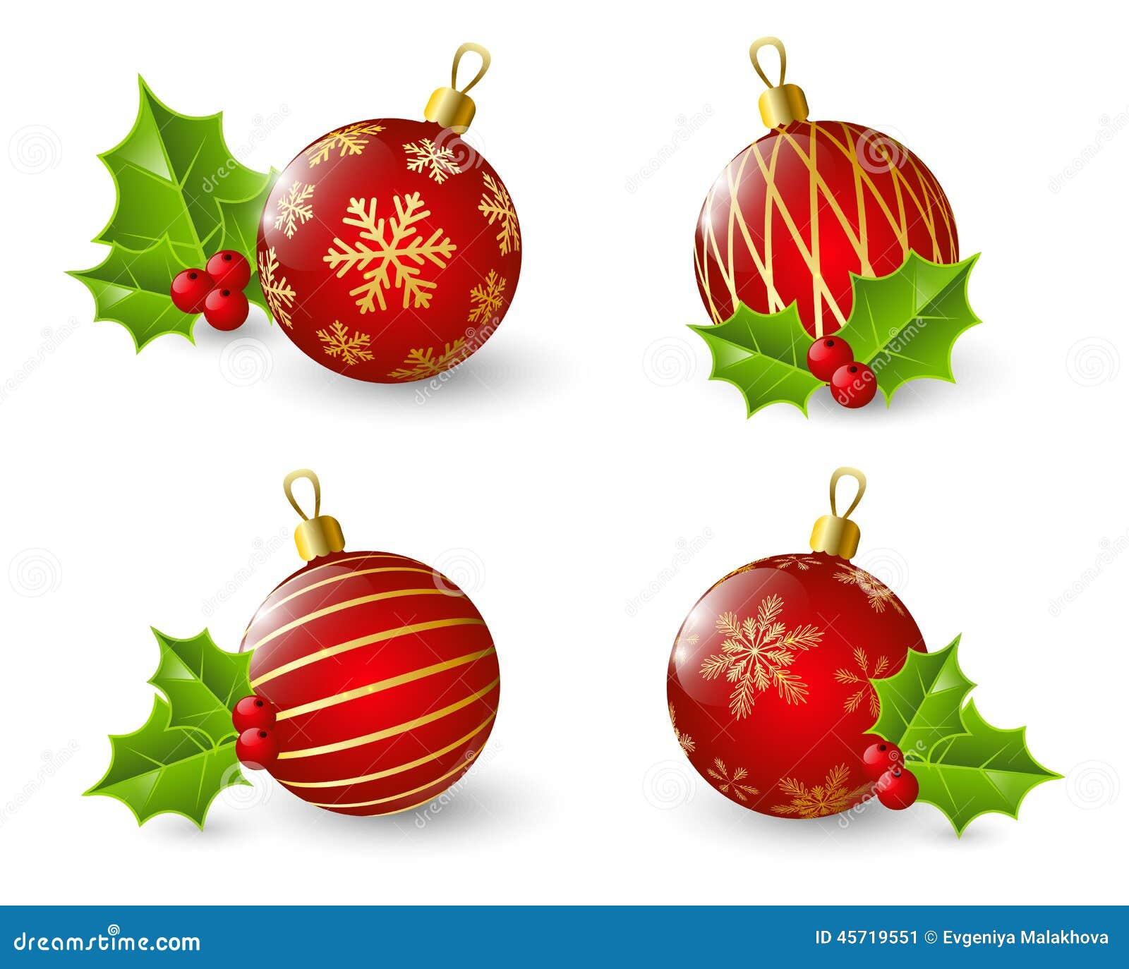 Sistema de bolas rojas de la navidad con acebo ilustraci n - Bolas de navidad rojas ...