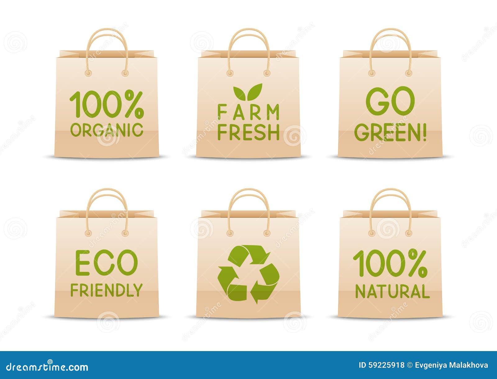 Sistema de bolsas de papel de la ecología