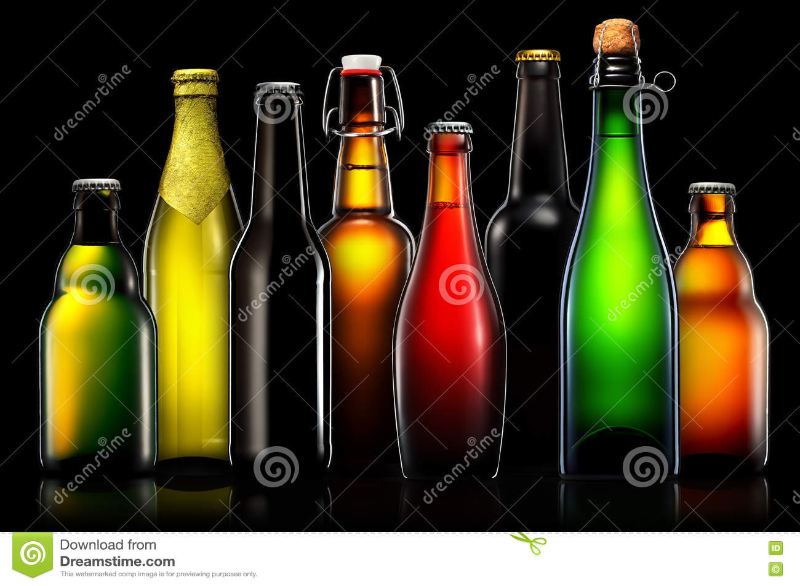 Sistema De Botellas De Cerveza Aisladas En Fondo Negro Foto de archivo