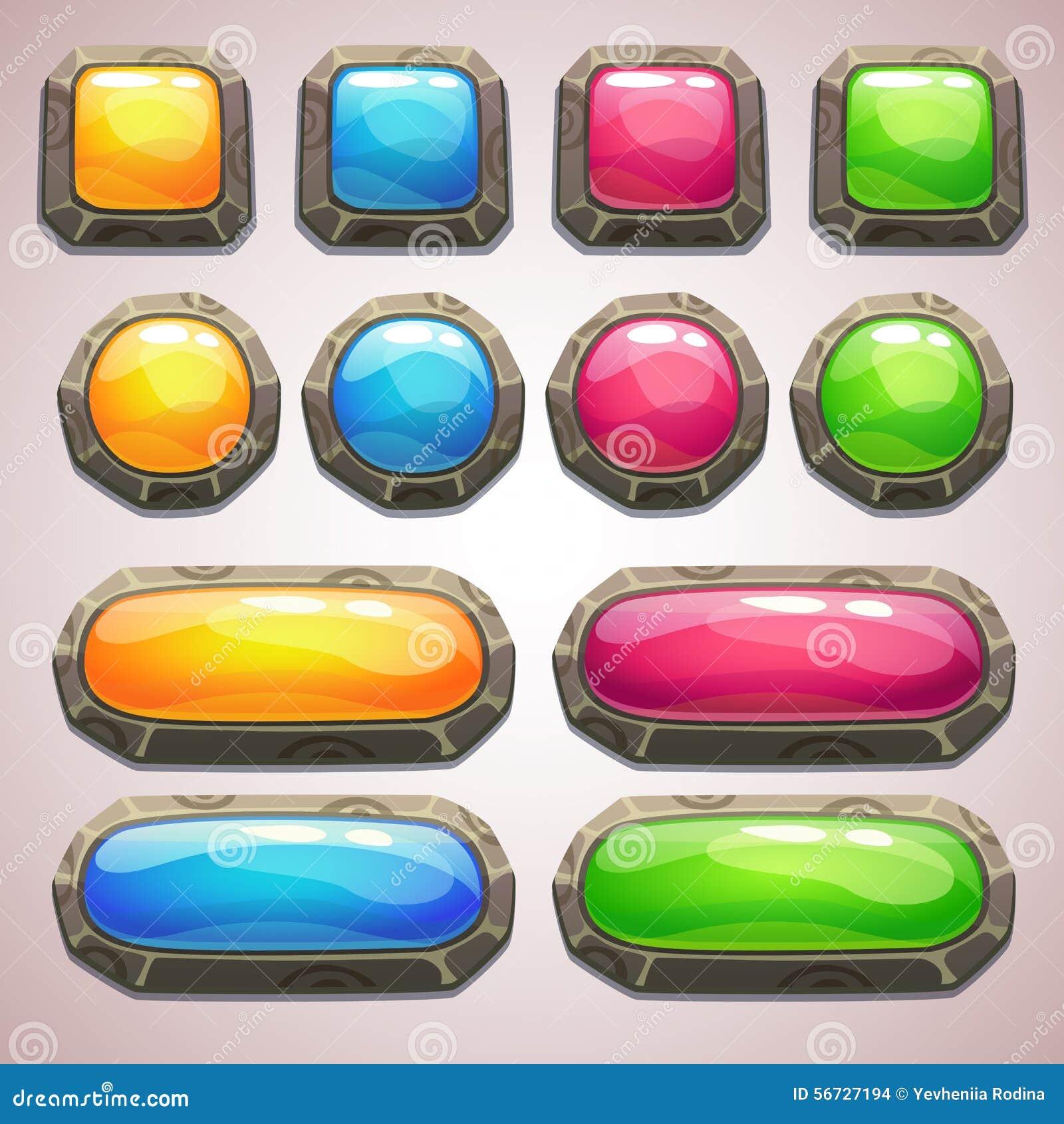 Sistema de botones coloridos de la historieta