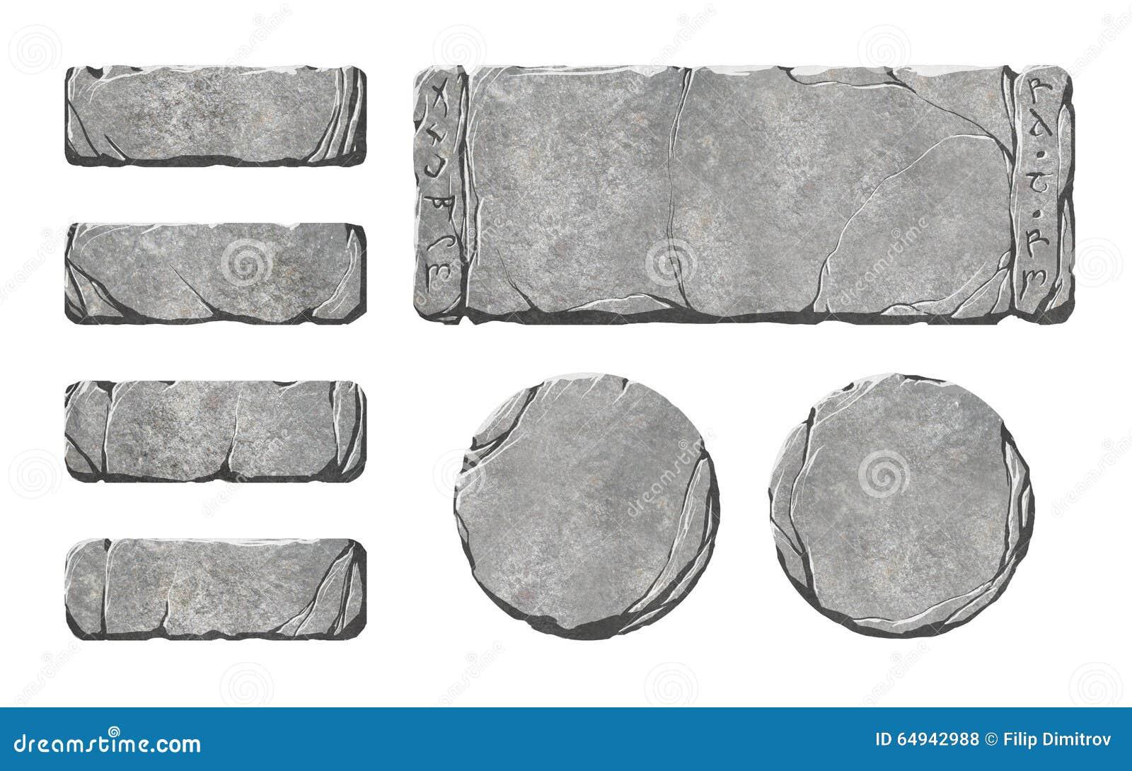 Sistema de botones y de elementos de piedra realistas del interfaz