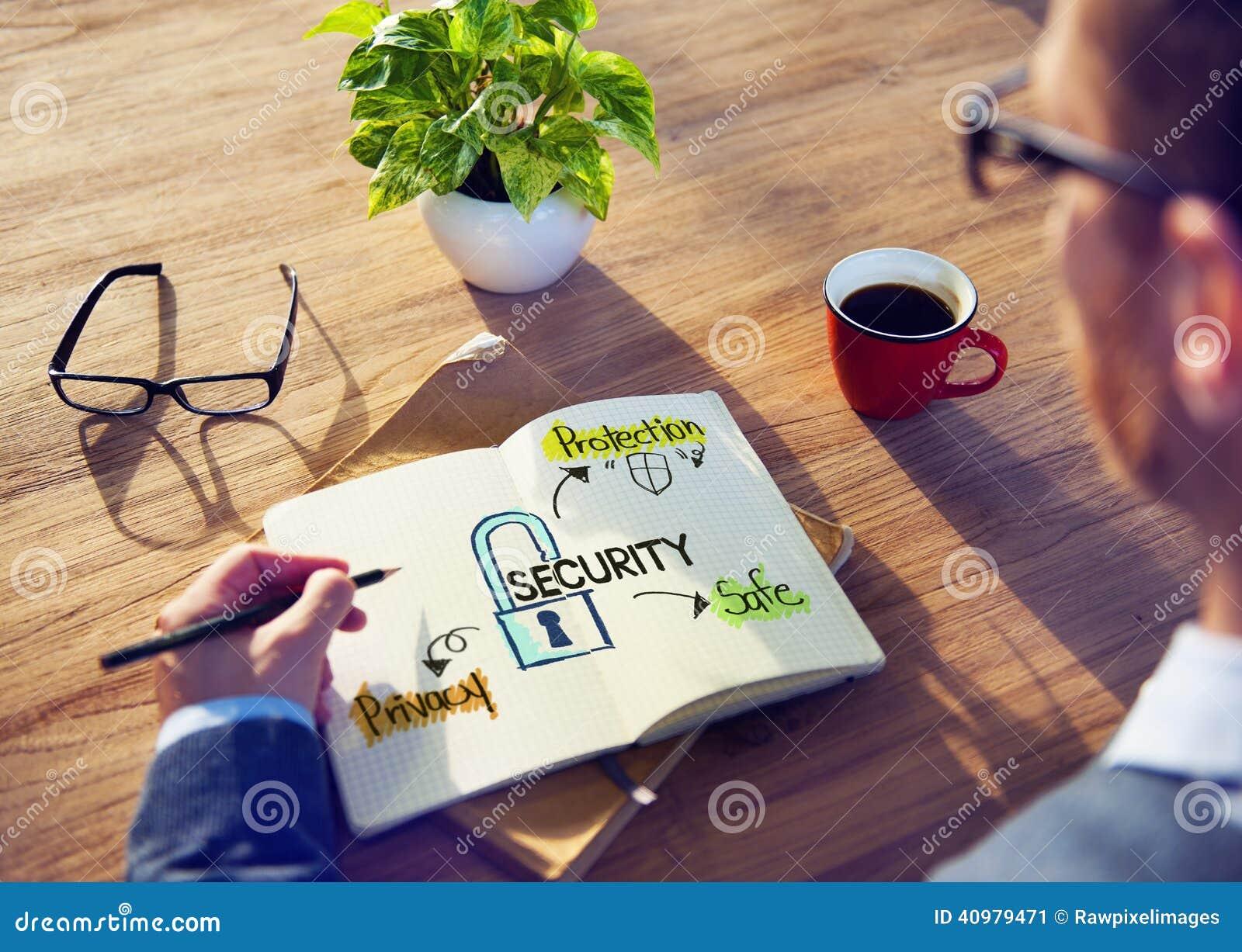 Sistema de Brainstorming About Security del hombre de negocios