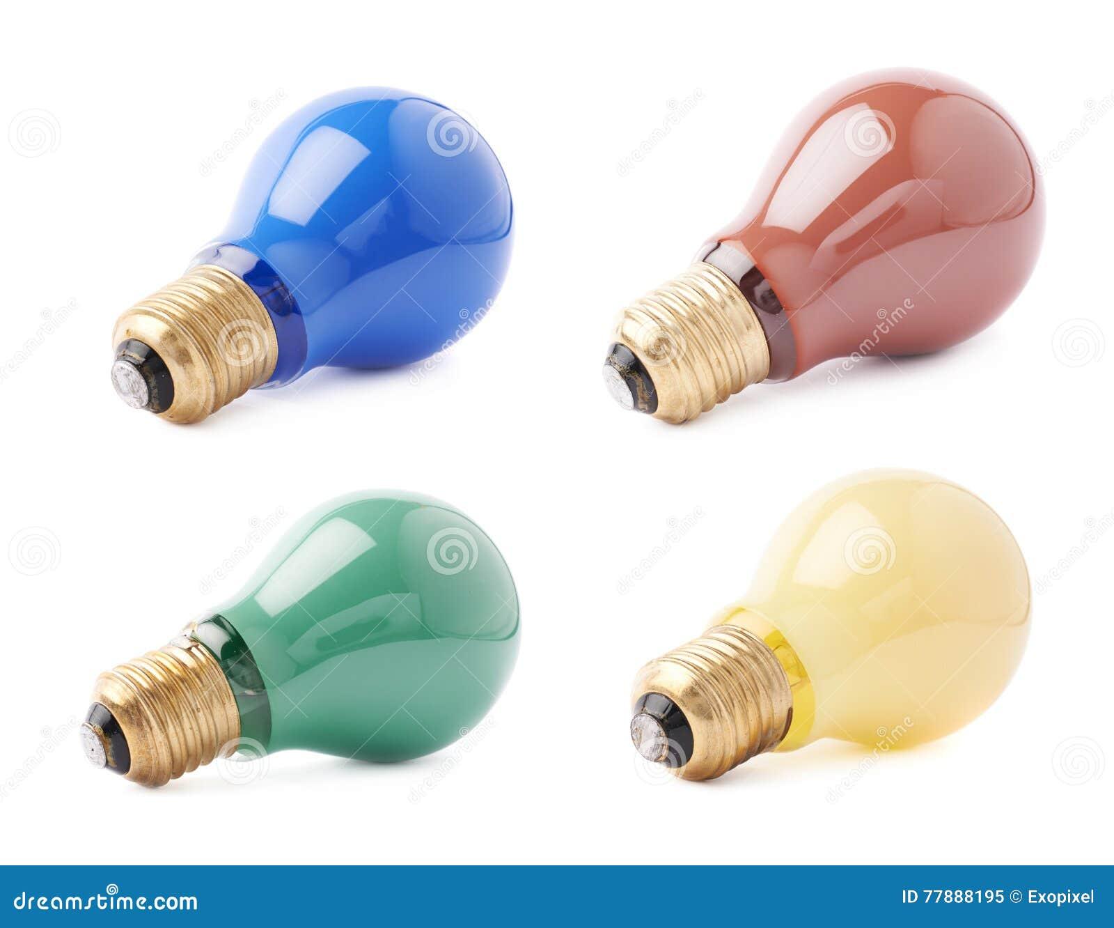Sistema de bulbos eléctricos que mienten en lado, aislado sobre el fondo blanco