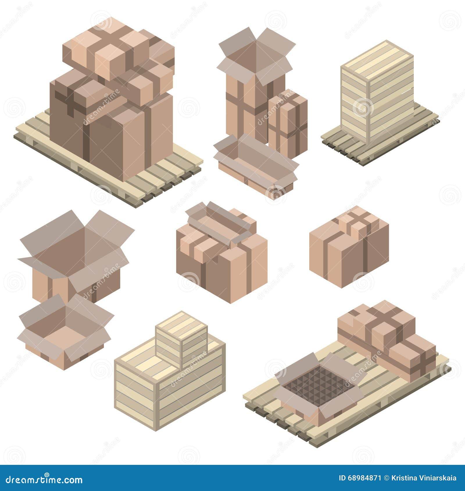 Sistema de cajas de cartón isométricas en blanco