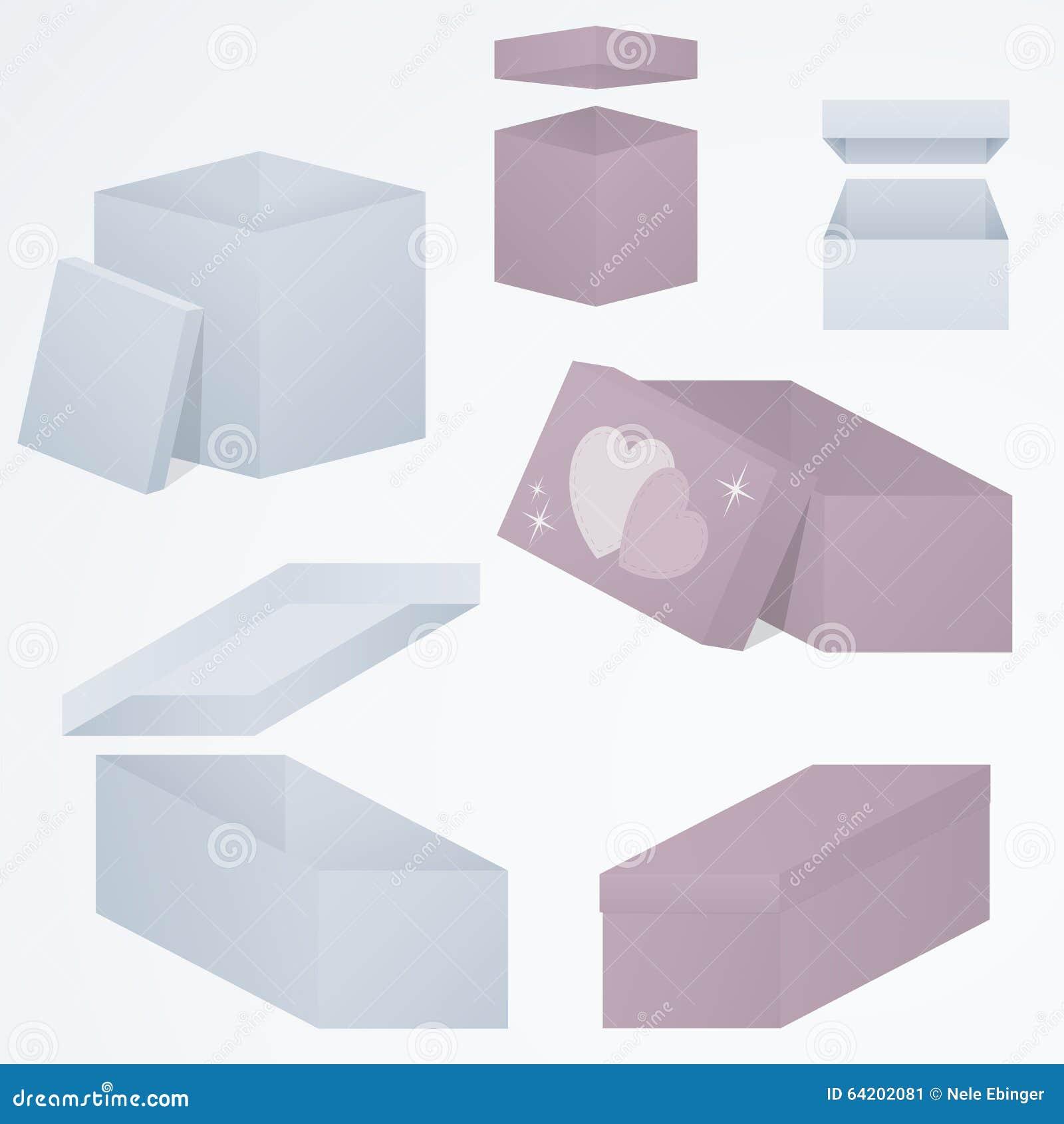 Sistema de cajas de regalo 3d que empaquetan en las perspectivas distintas y las formas, 3d, pendientes, ejemplo